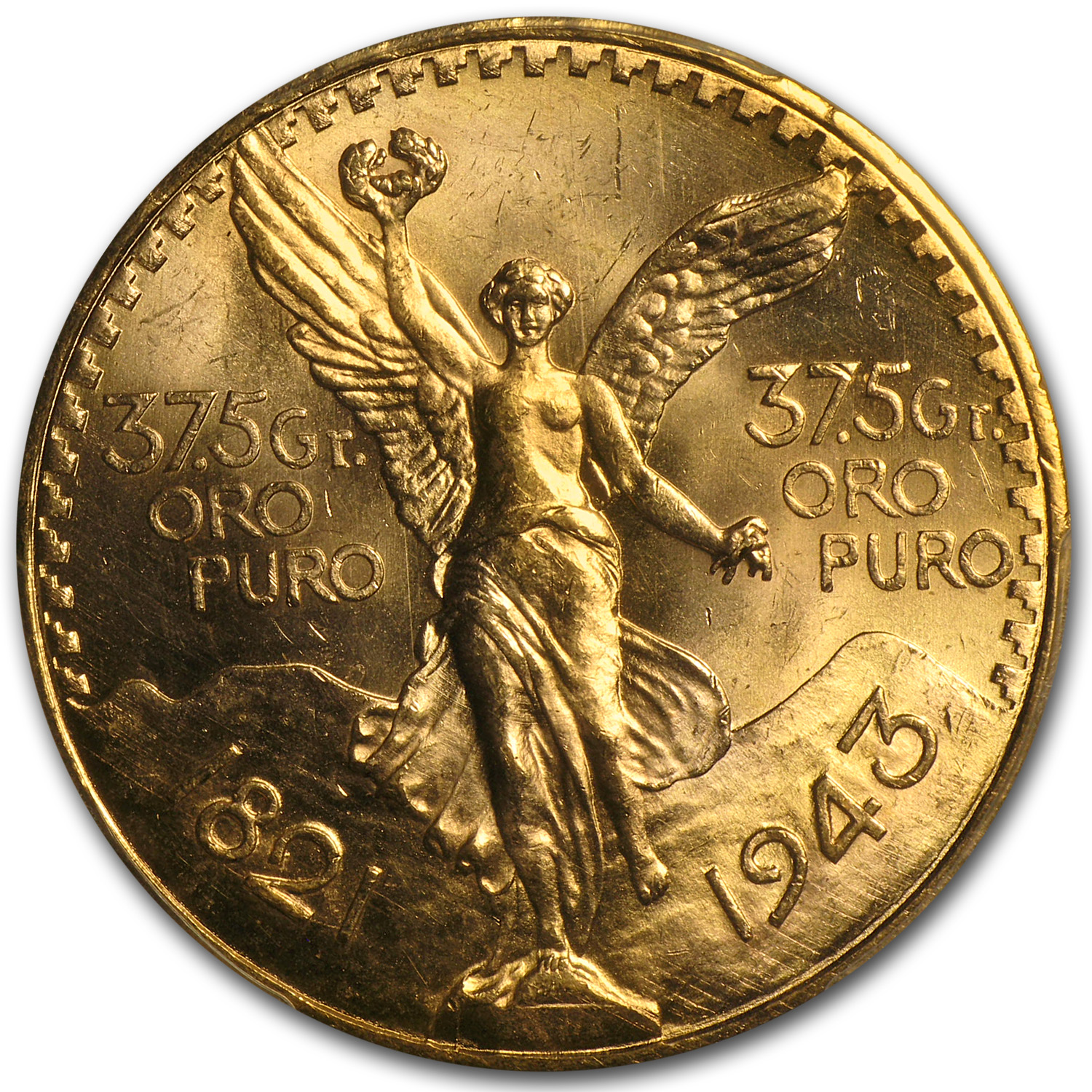 Mexico 1943 50 Pesos Gold Coin - MS-64+ PCGS (Secure Plus!)