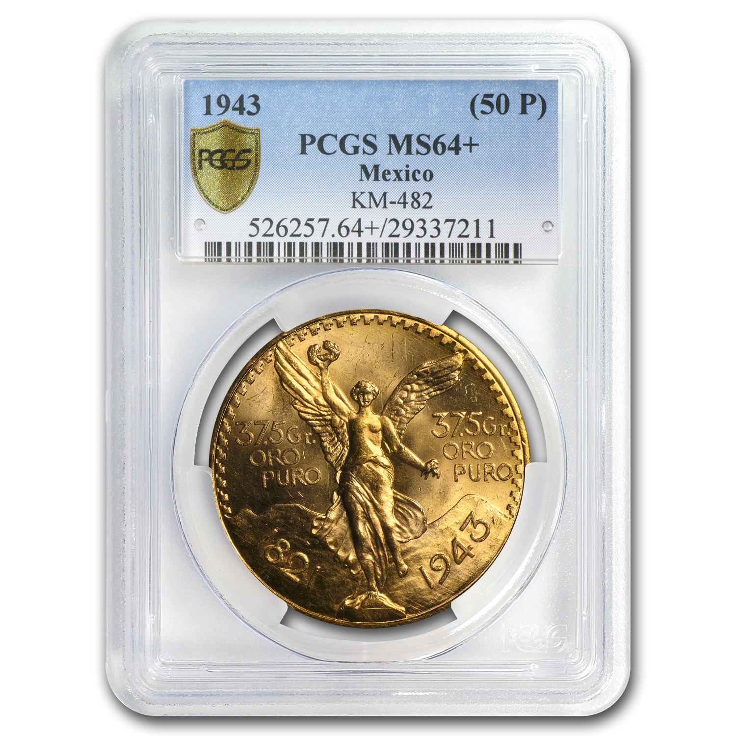 Mexico 1943 50 Pesos Gold MS-64+ PCGS (Secure Plus)