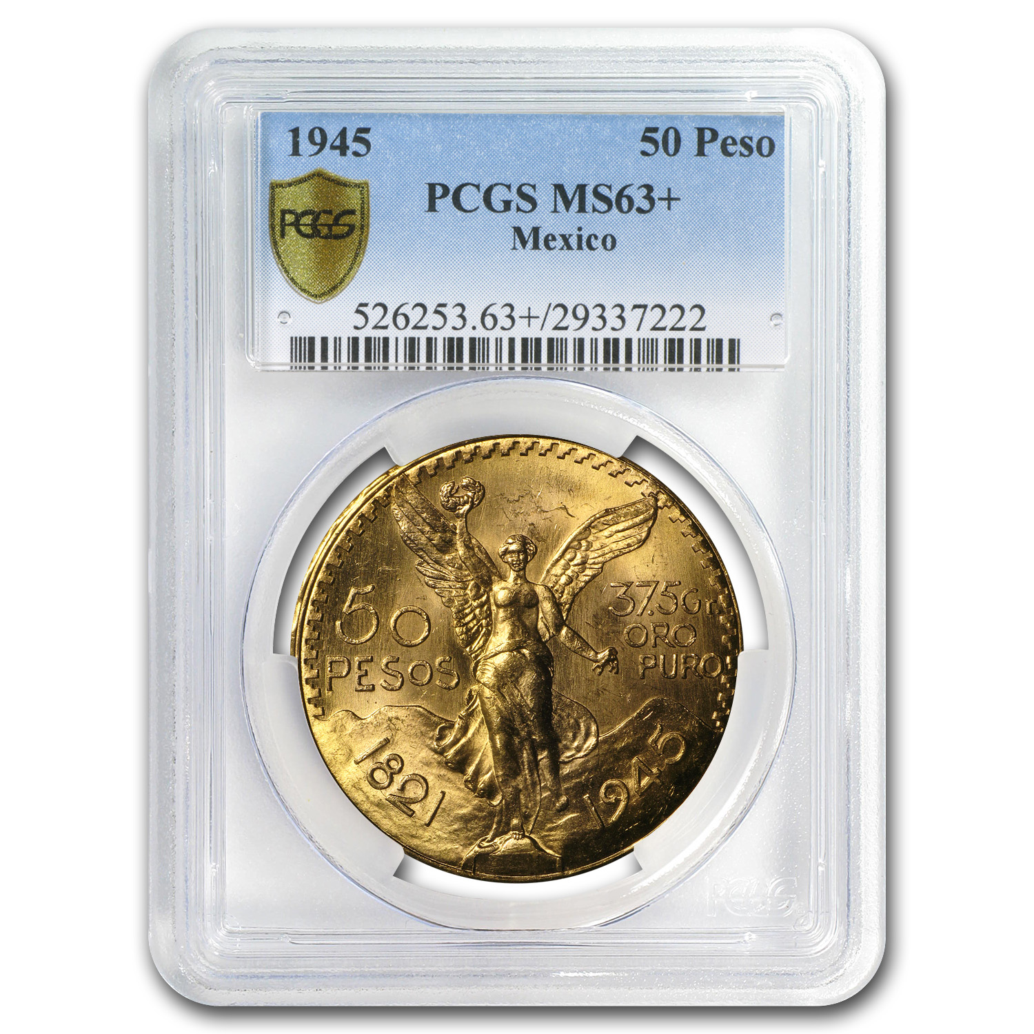 1945 Mexico Gold 50 Pesos MS-63+ PCGS (Secure Plus)