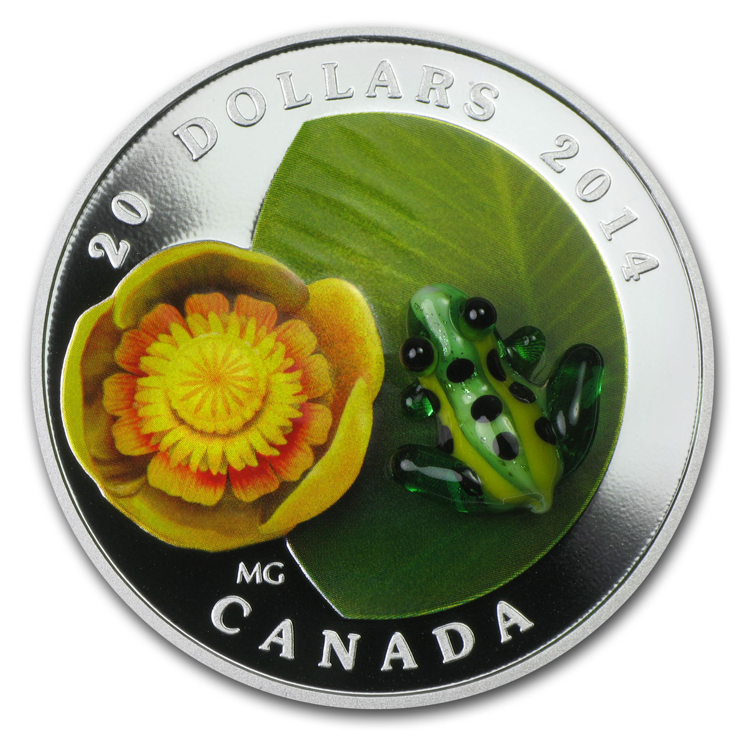 2014 1 oz Silver Canadian Water-Lily Venetian Glass Leopard Frog