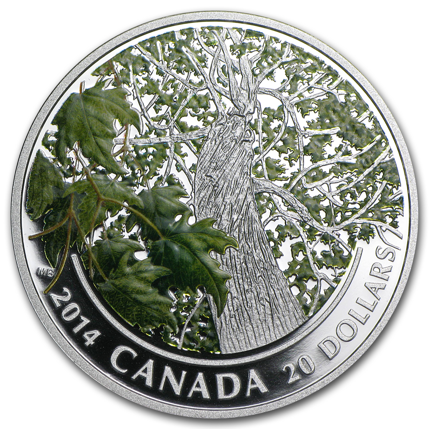 2014 1 oz Silver Canadian $20 - Maple Canopy - Spring Splendour