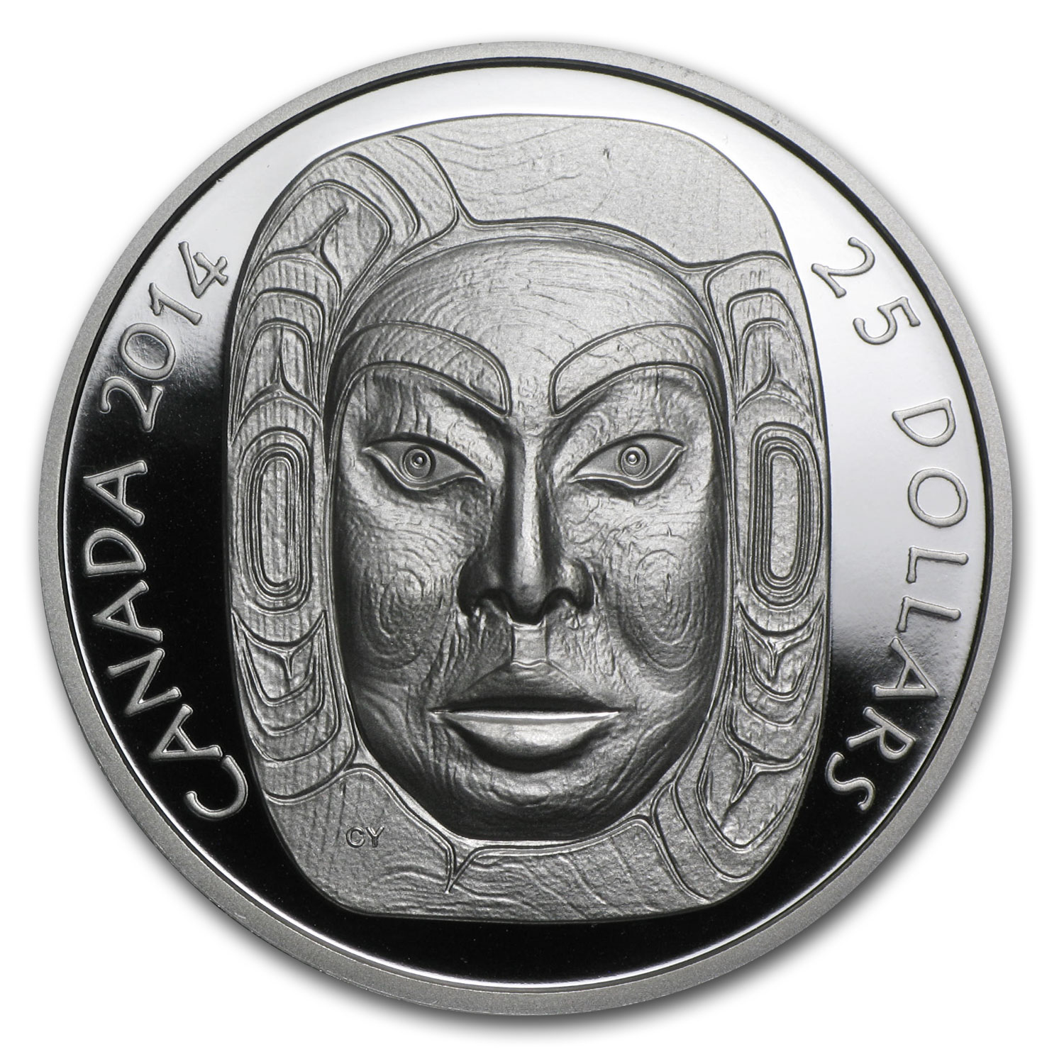 2014 1 oz Silver Canadian $25 Matriarch Moon Mask (UHR)