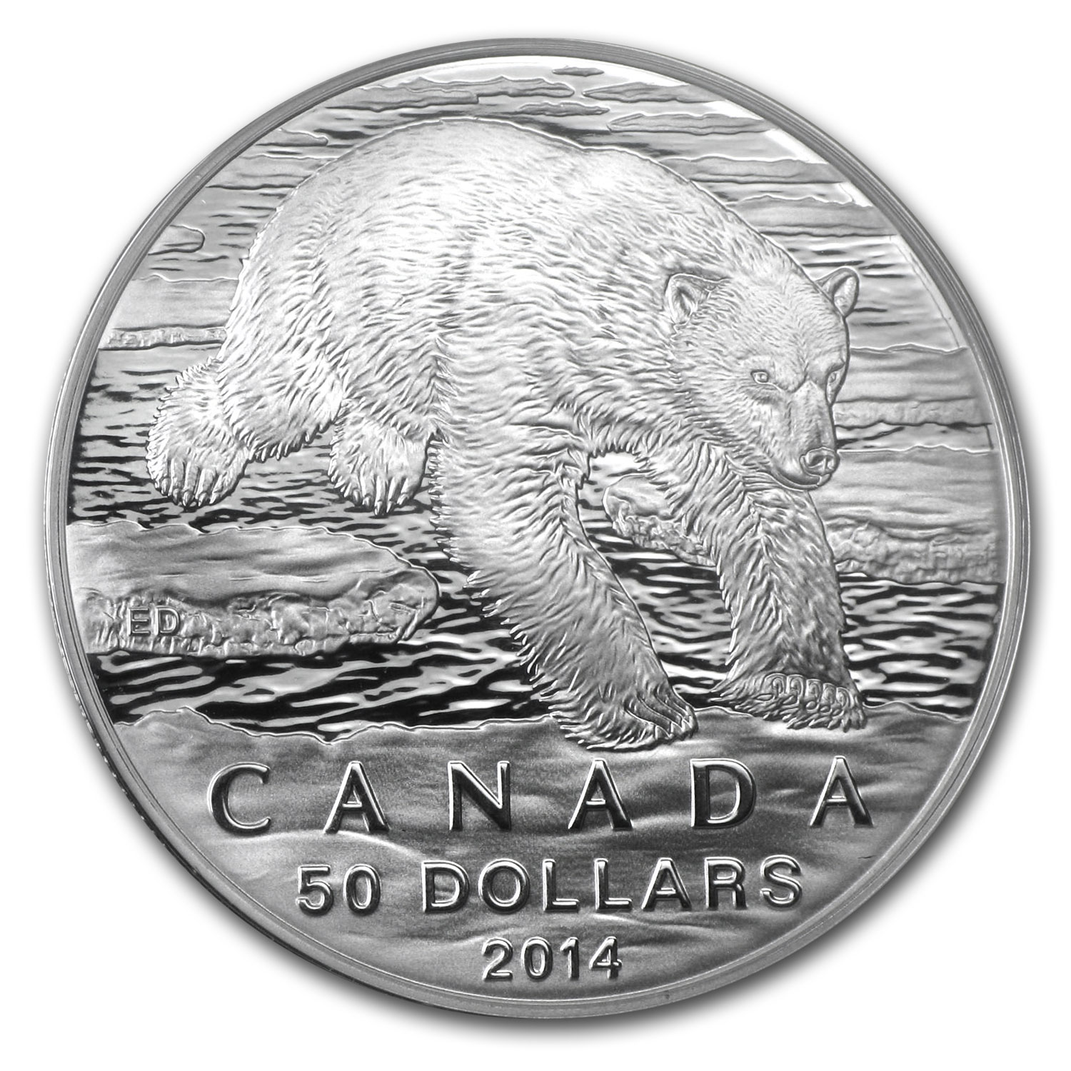 2014 1/2 oz Silver Canadian $50 - Iconic Polar Bear