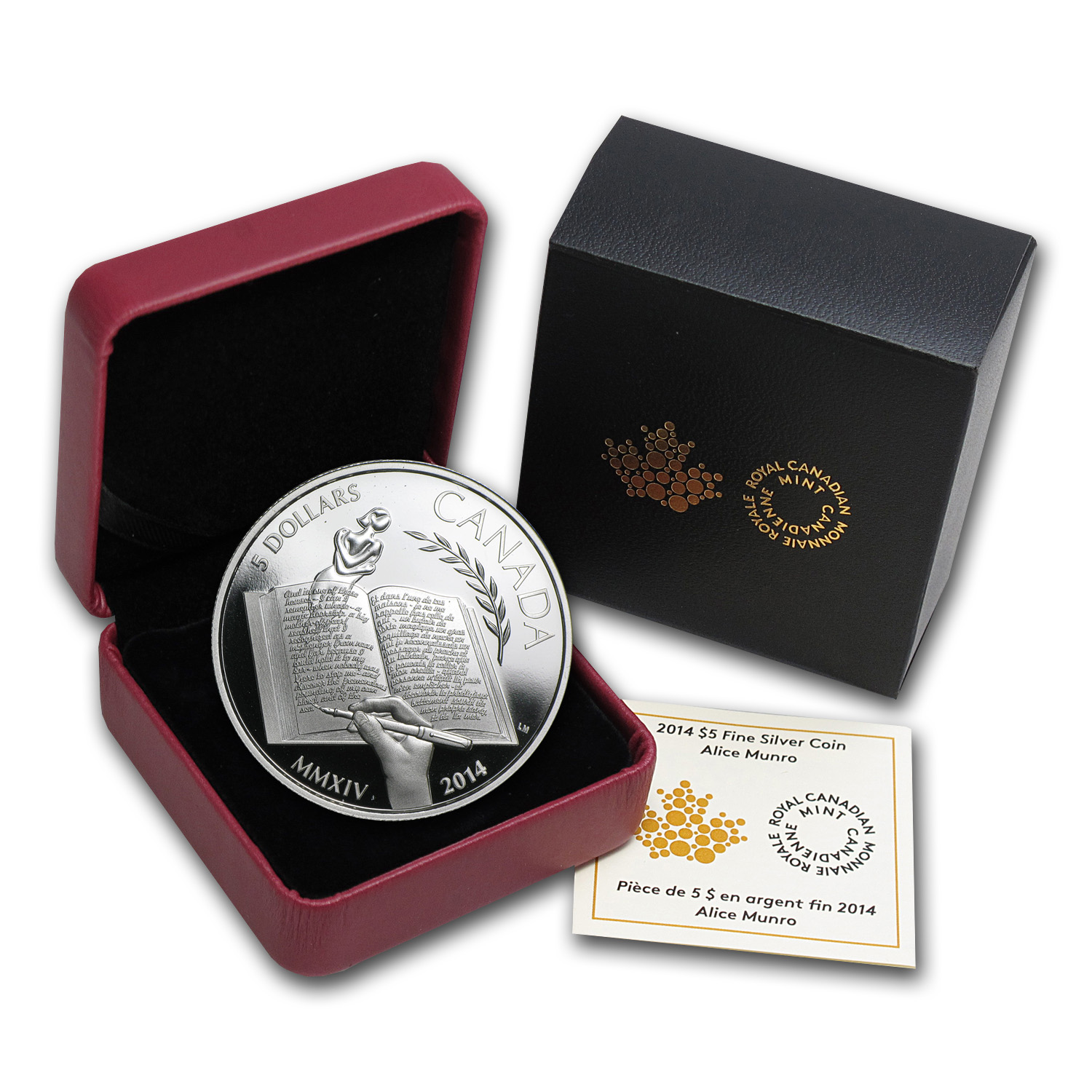 2014 Silver Proof Canadian $5 - Alice Munro (W/Box & COA)