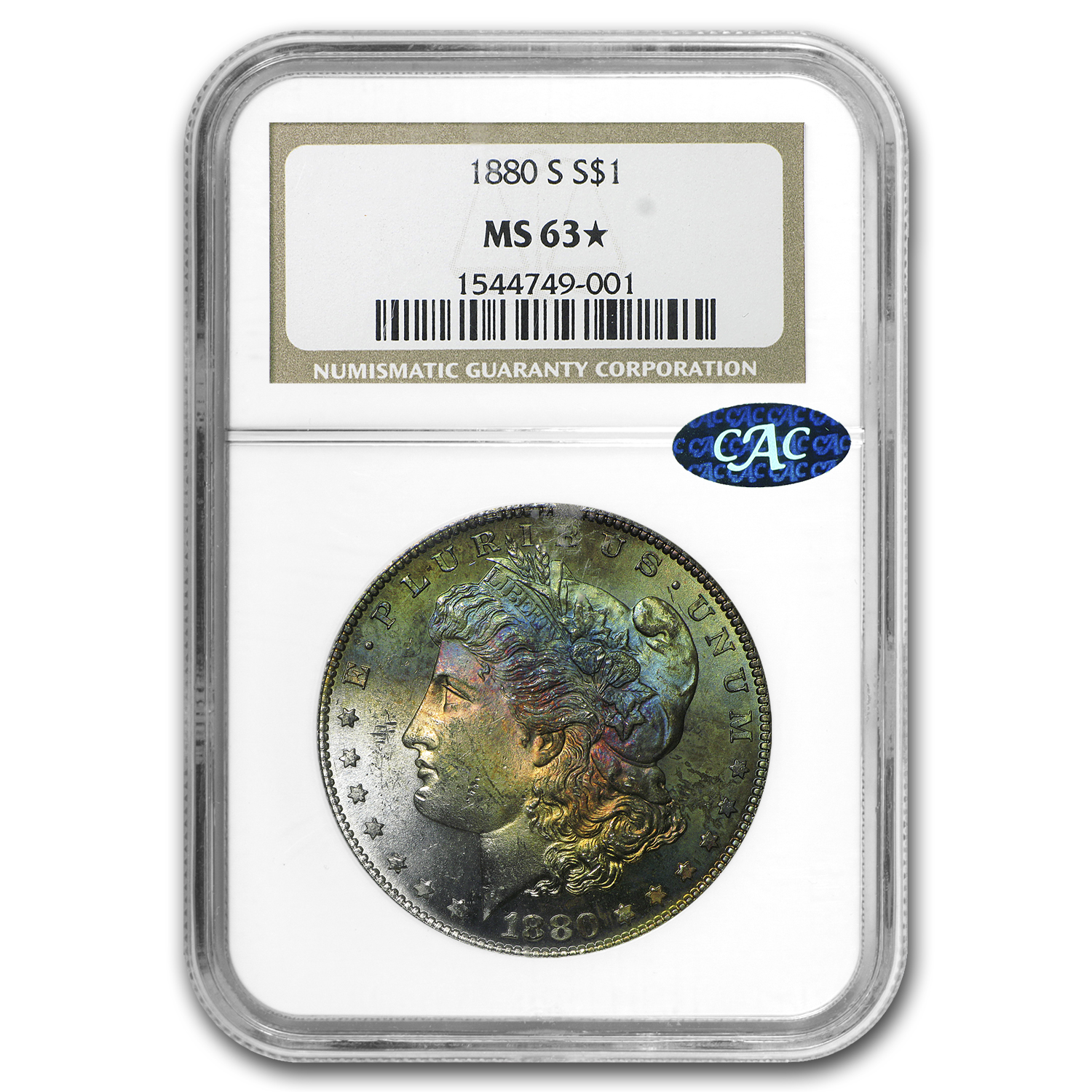 1880-S Morgan Dollar MS-63* Star NGC (Arc Toning)