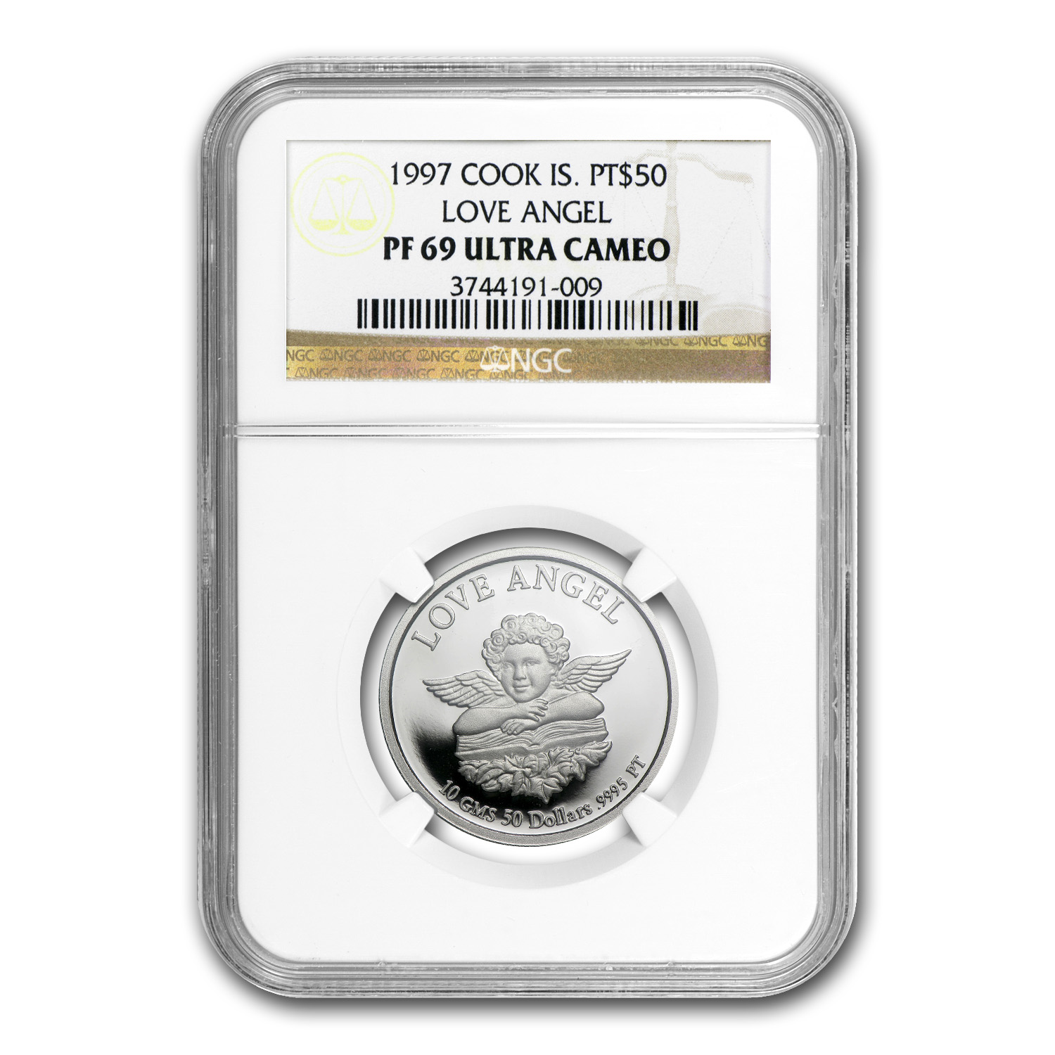 1997 10 gram Cook Islands Platinum Love Angel (PF-69 UCAM NGC)