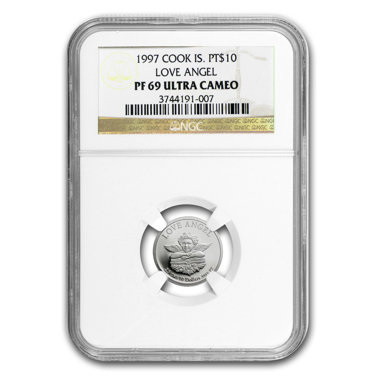 1997 2.5 gram Cook Islands Platinum Love Angel (PF-69 UCAM NGC)