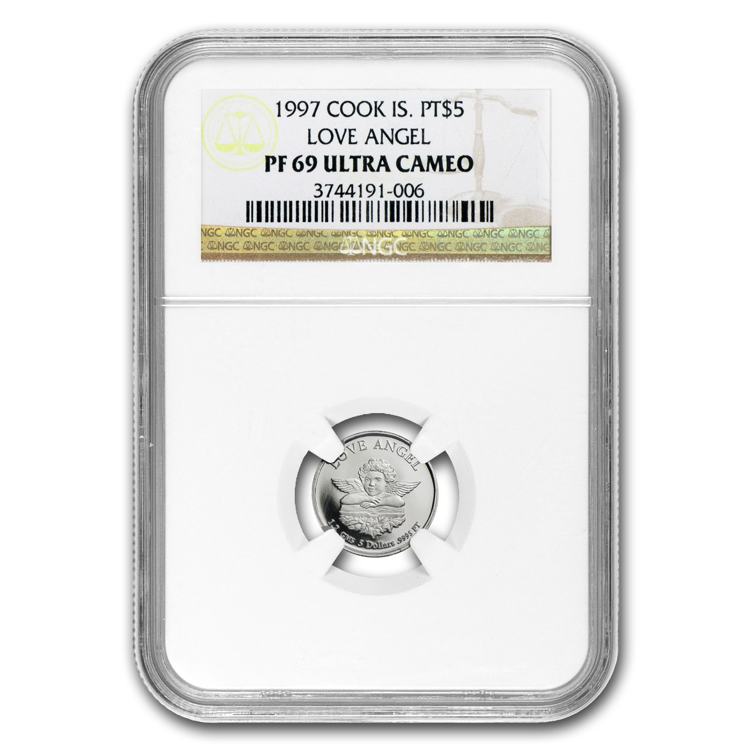 1997 1.2 gram Cook Islands Platinum Love Angel (PF-69 UCAM NGC)