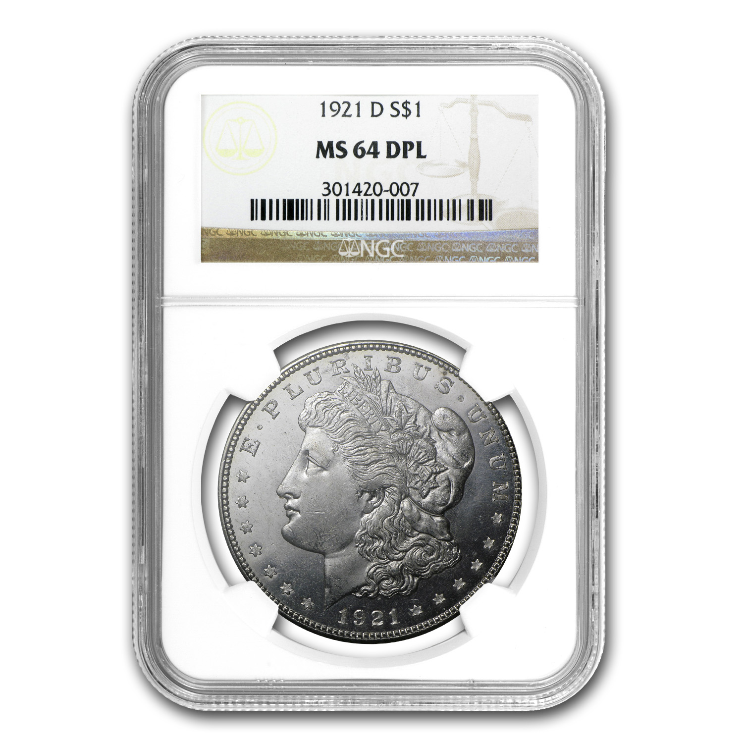 1921-D Morgan Dollar - MS-64 DPL Deep Proof Like NGC