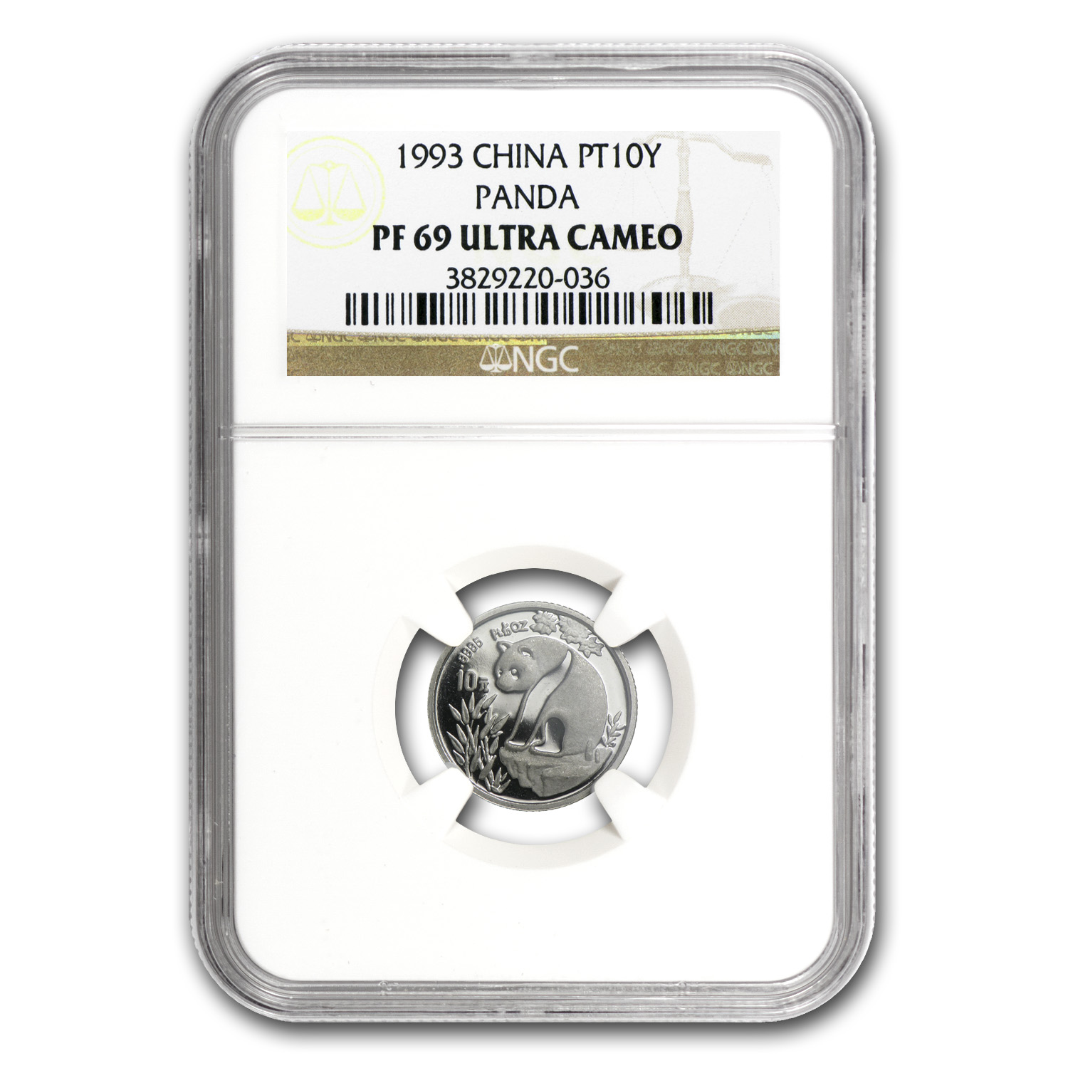 1993 China 1/10 oz Proof Platinum Panda PF-69 NGC