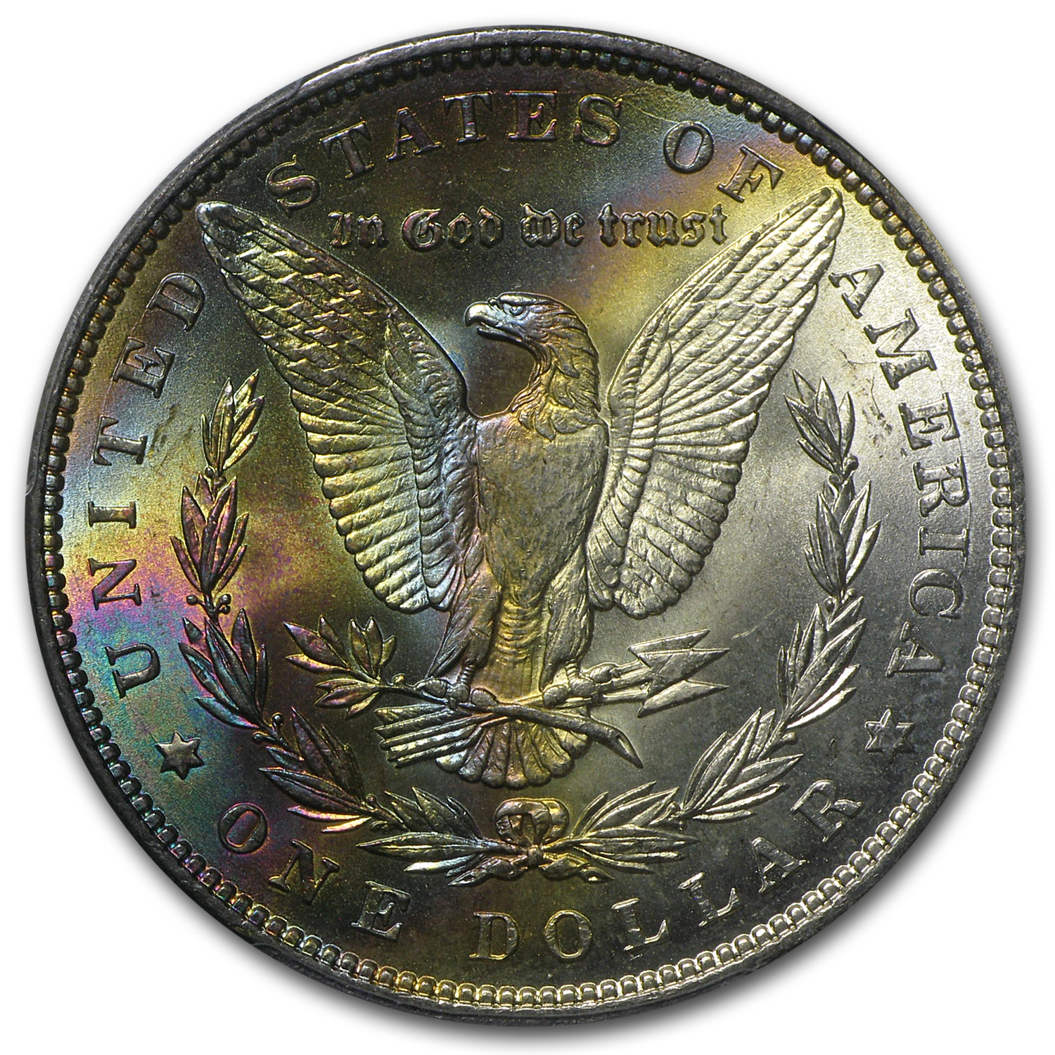 1887 Morgan Dollar MS-64 PCGS Awesome Reverse Toning