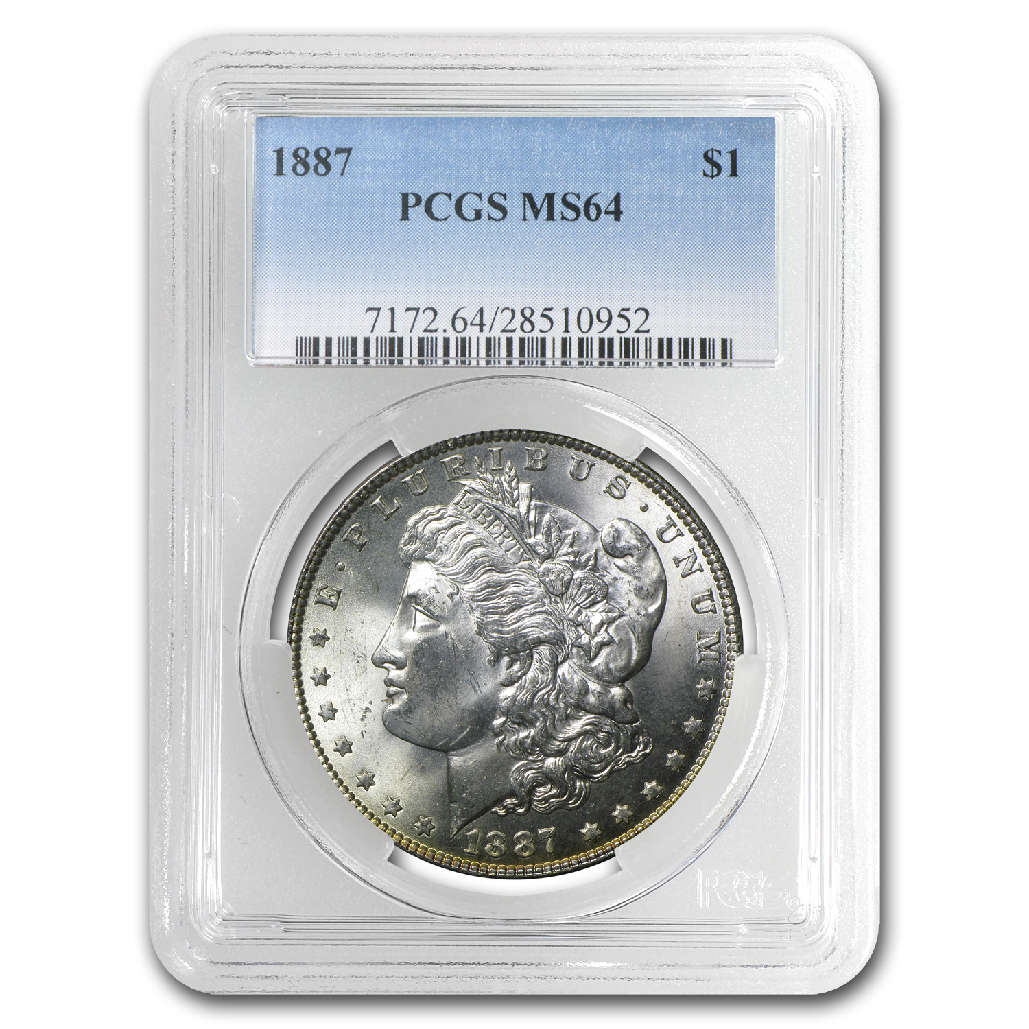 1887 Morgan Dollar MS-64 PCGS (Awesome Rev Toning)