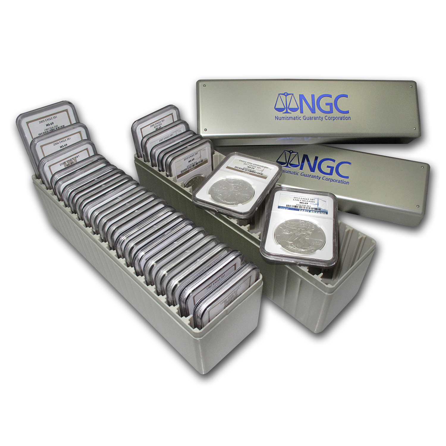 1986-2014 29-Coin Silver Eagle Set MS-69 NGC (2 NGC Boxes)