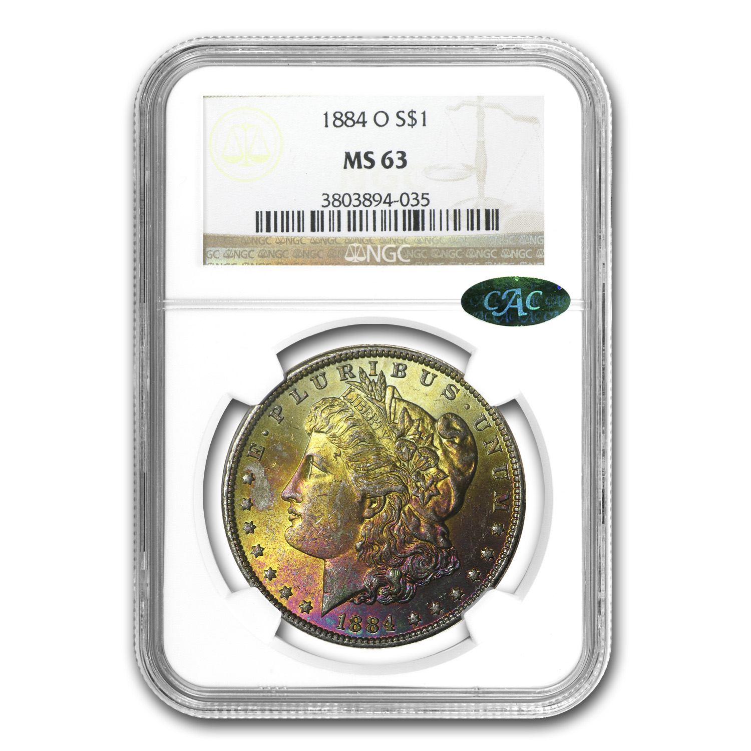 1884-O Morgan Dollar MS-63 NGC (CAC, Beautiful Sunset Toning)