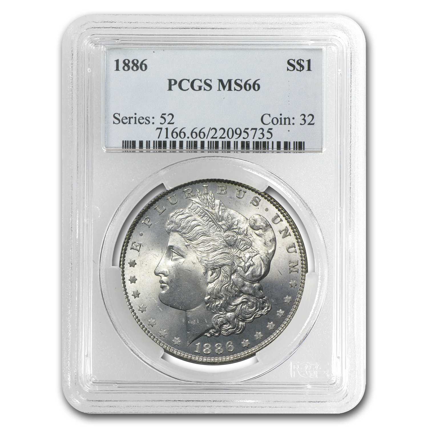 1886 Morgan Dollar MS-66 PCGS (Beautiful Crescent Toning)