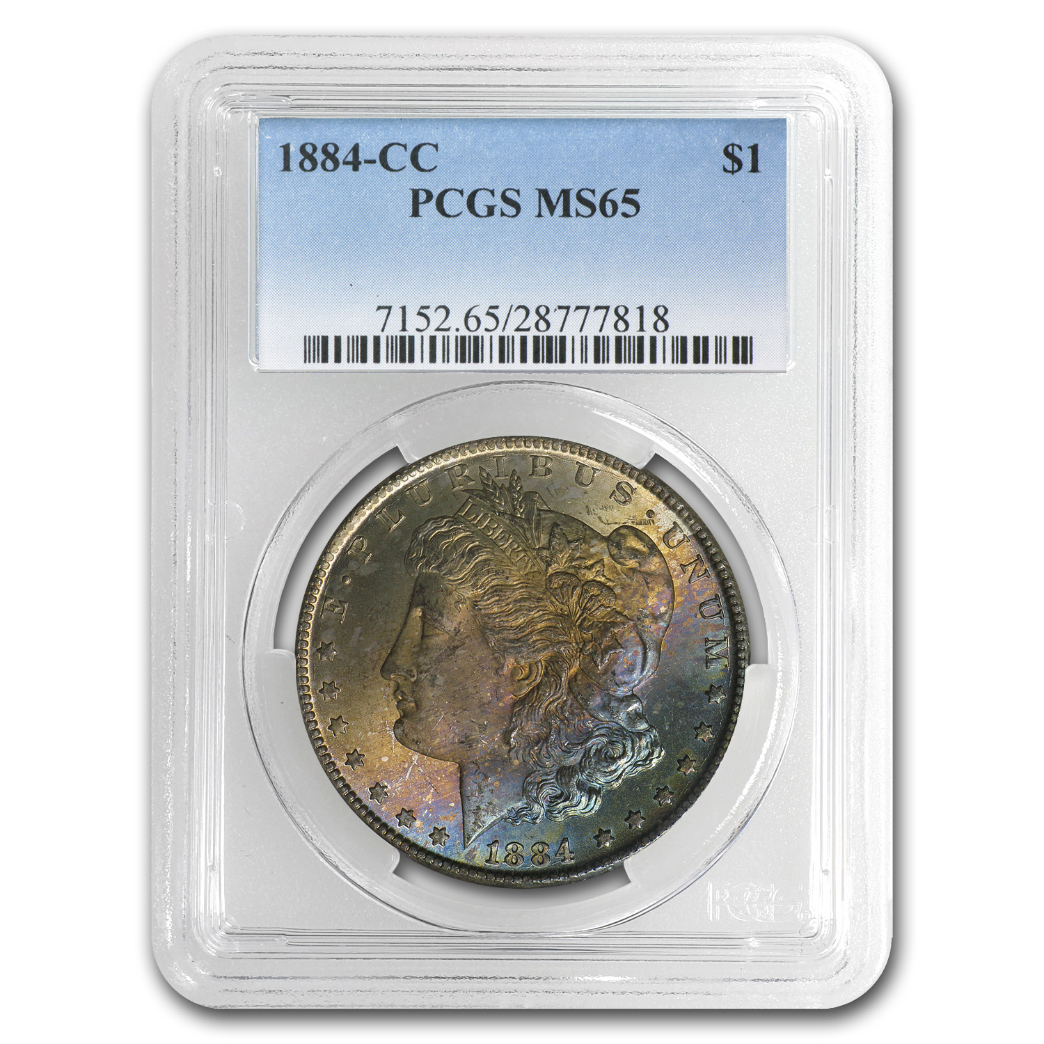 1884-CC Morgan Dollar MS-65 PCGS - Sunset Orange and Blue Obverse