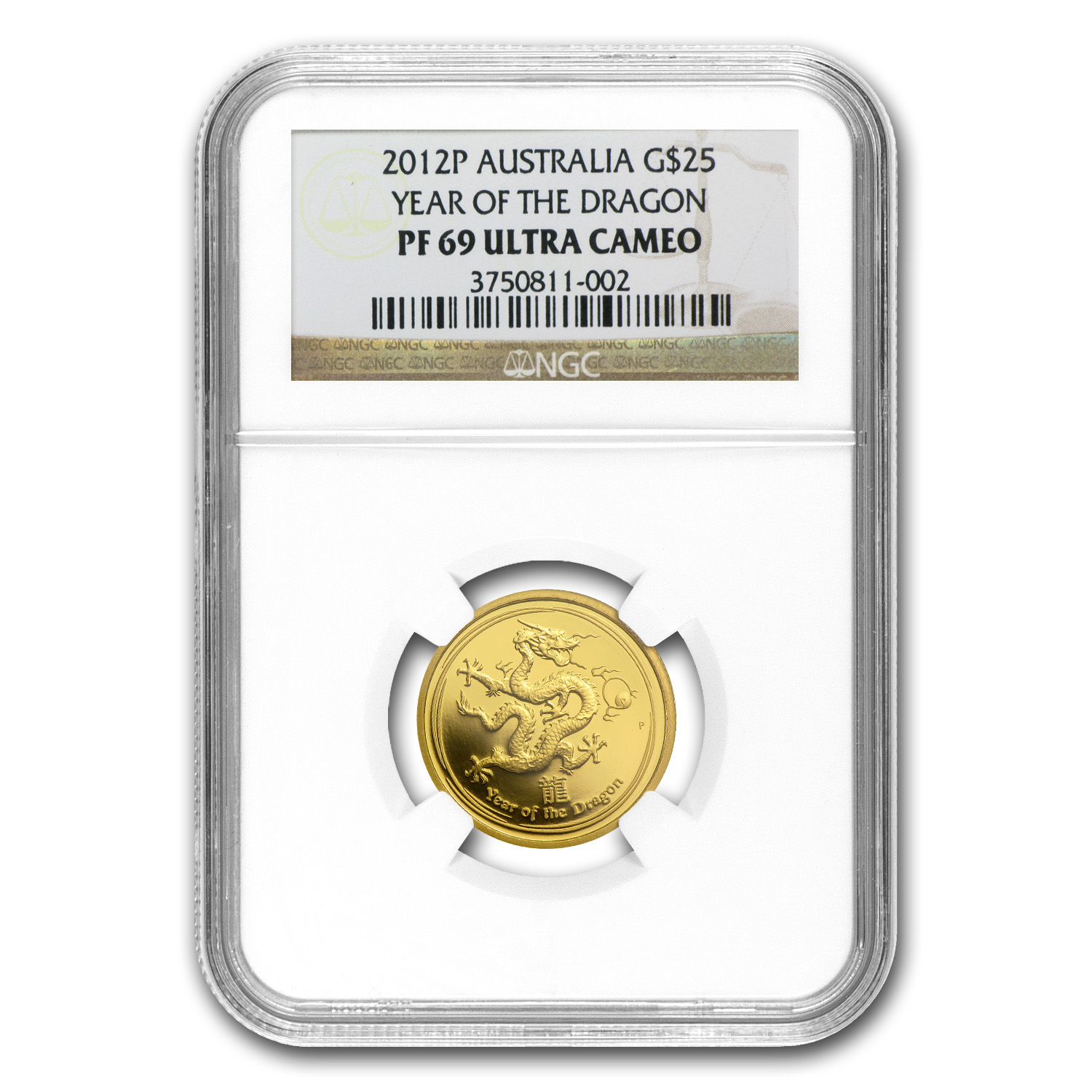 2012 1/4 oz Gold Lunar Year of the Dragon PF-69 NGC (SII)