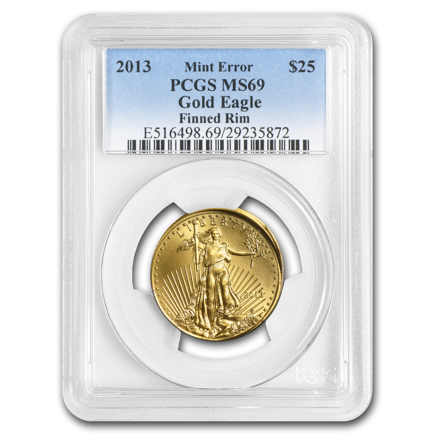 "2013 1/2 oz Gold Eagle ""Finned Rim"" Mint Error MS-69 PCGS"