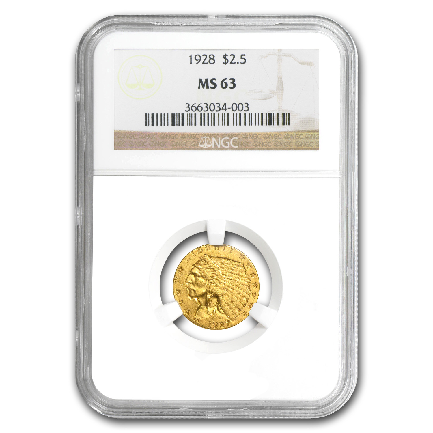 $2.50 Indian Gold Quarter Eagle Date Set - MS-63 - NGC - 5 Coins