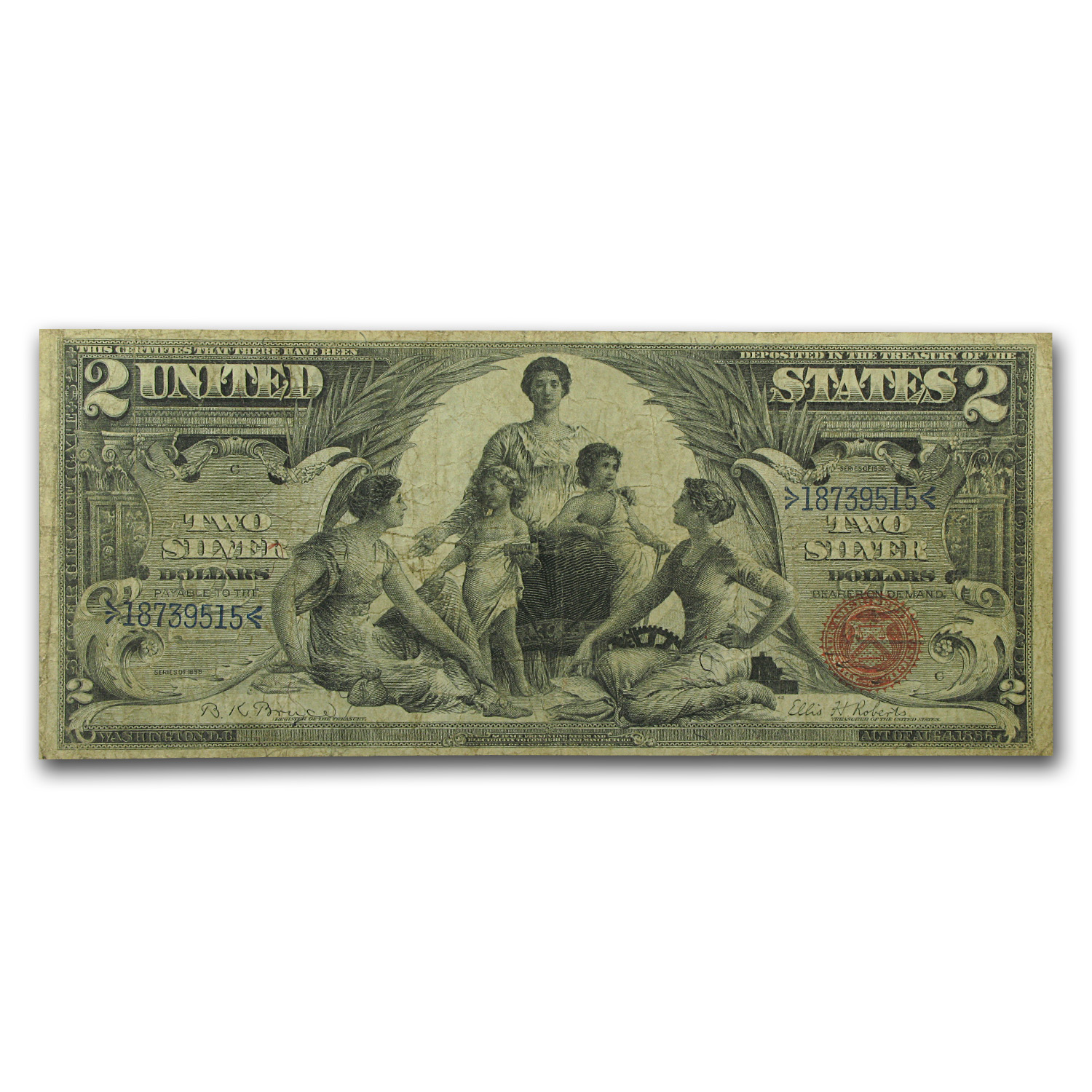 1896 $2.00 Silver Certificate Educational Note VG/Fine