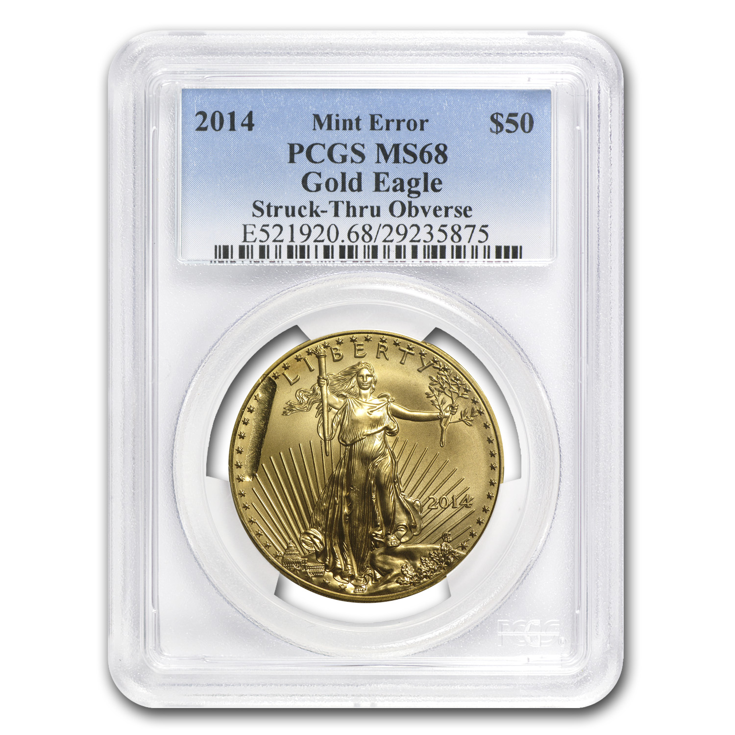2014 1 oz Gold American Eagle Mint Error MS-69 PCGS