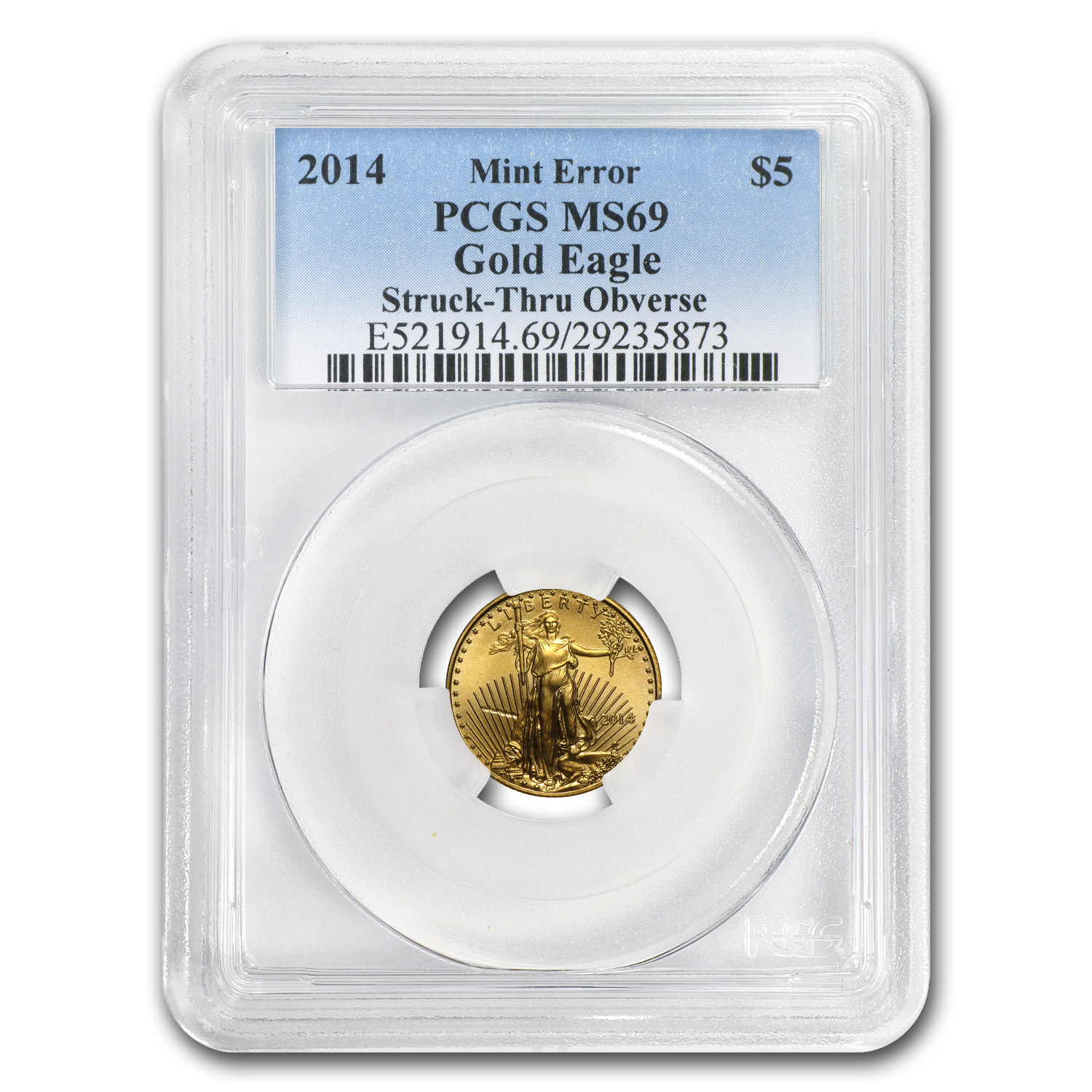 2014 1/10 oz Gold American Eagle MS-69 PCGS Minor Mint Error