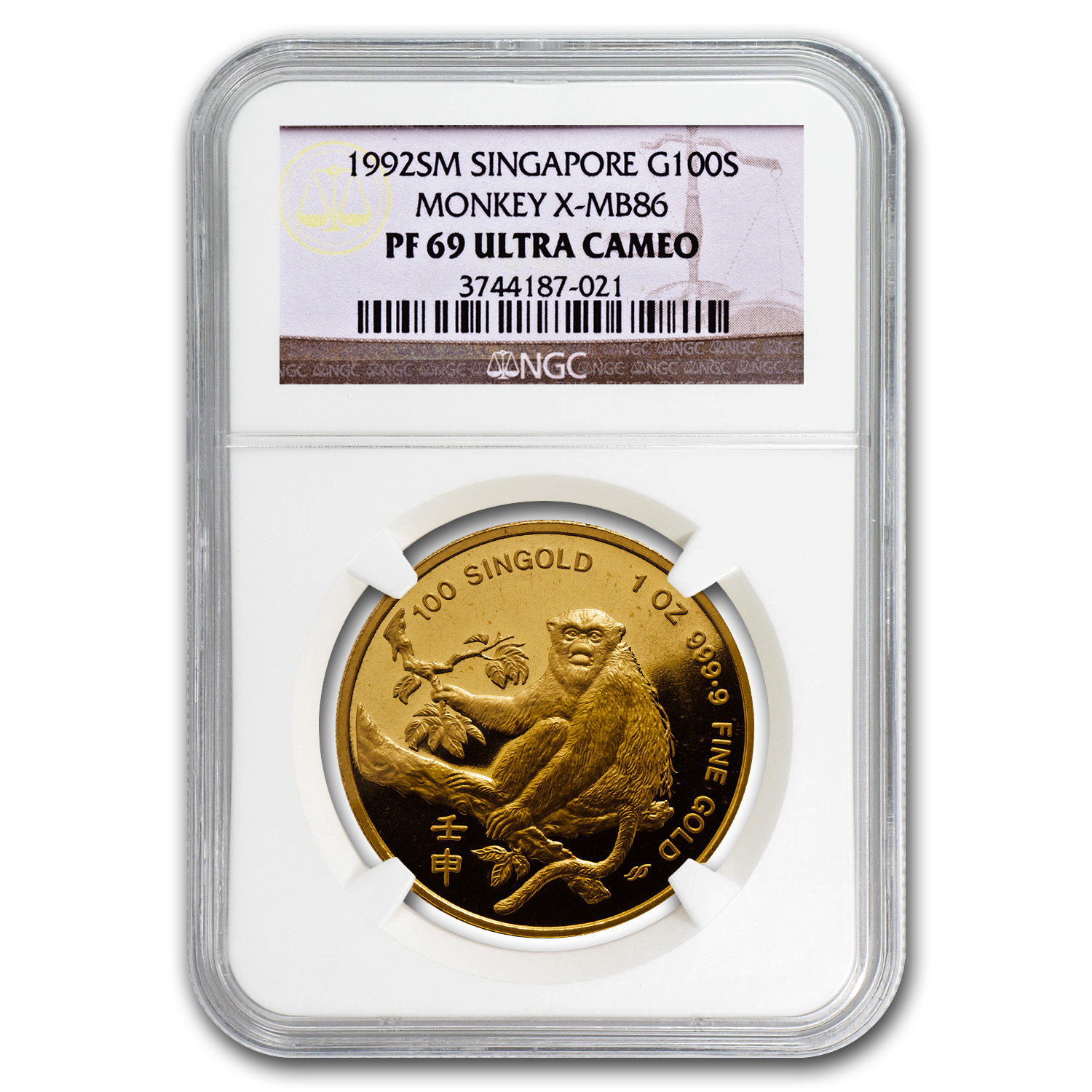 1992 Singapore 1 oz Proof Gold 100 Singold Monkey PR-69 NGC