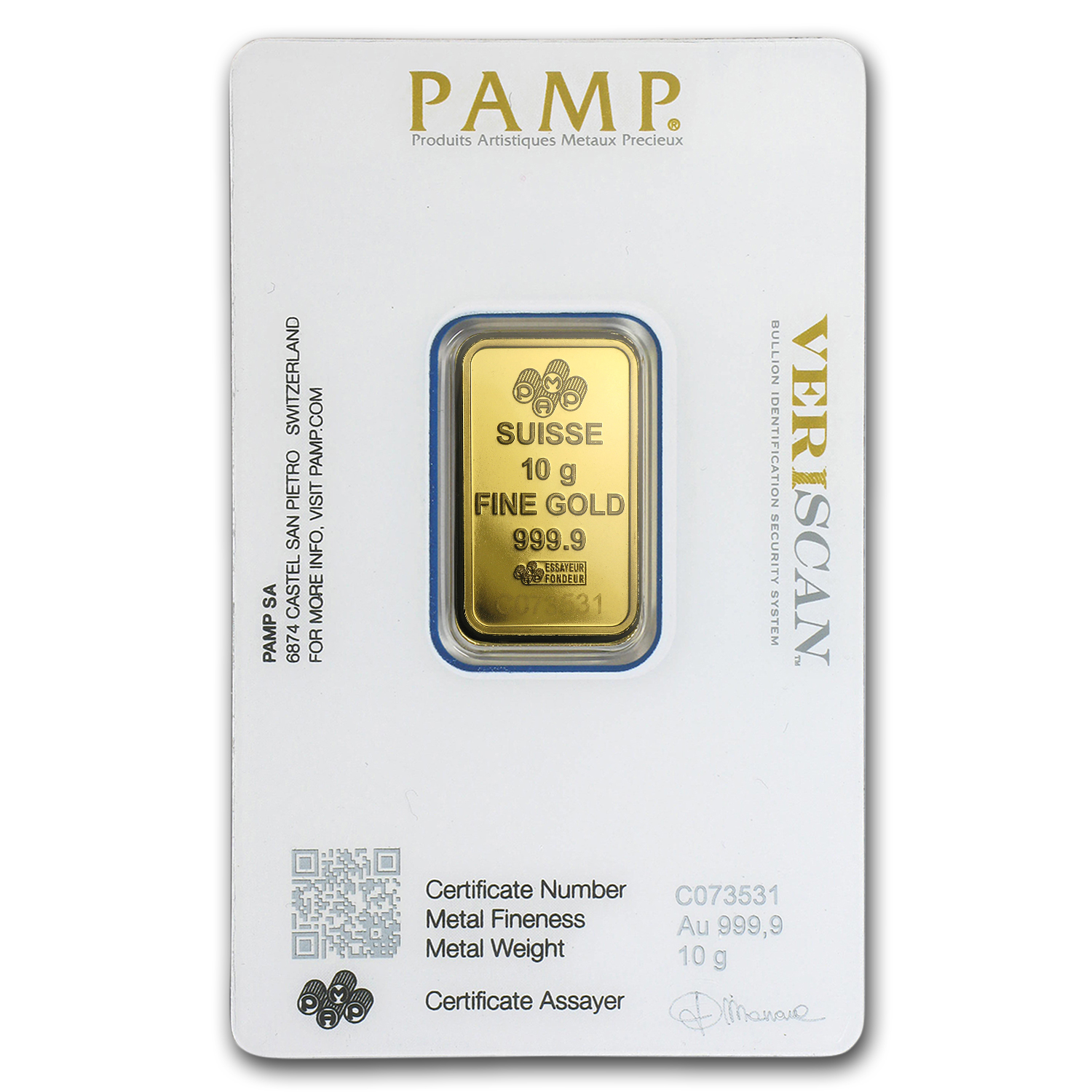 10 gram Gold Bar - PAMP Suisse Lady Fortuna Veriscan® (In Assay)