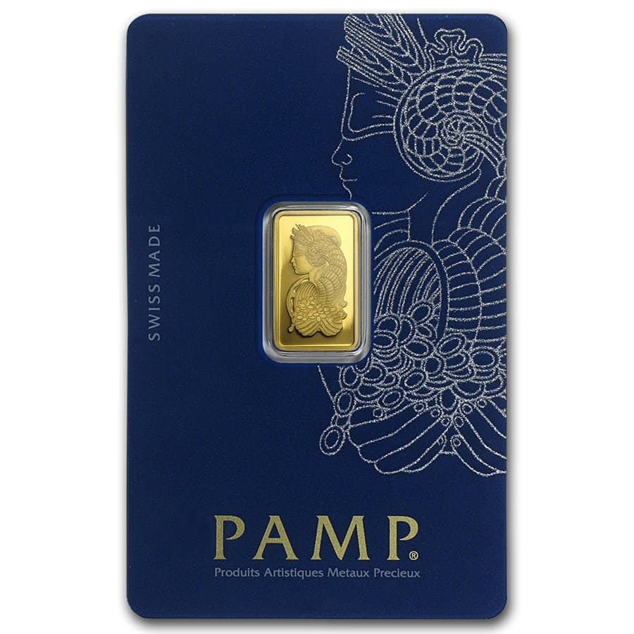 2.5 gram Gold Bar - PAMP Suisse Lady Fortuna Veriscan (In Assay)
