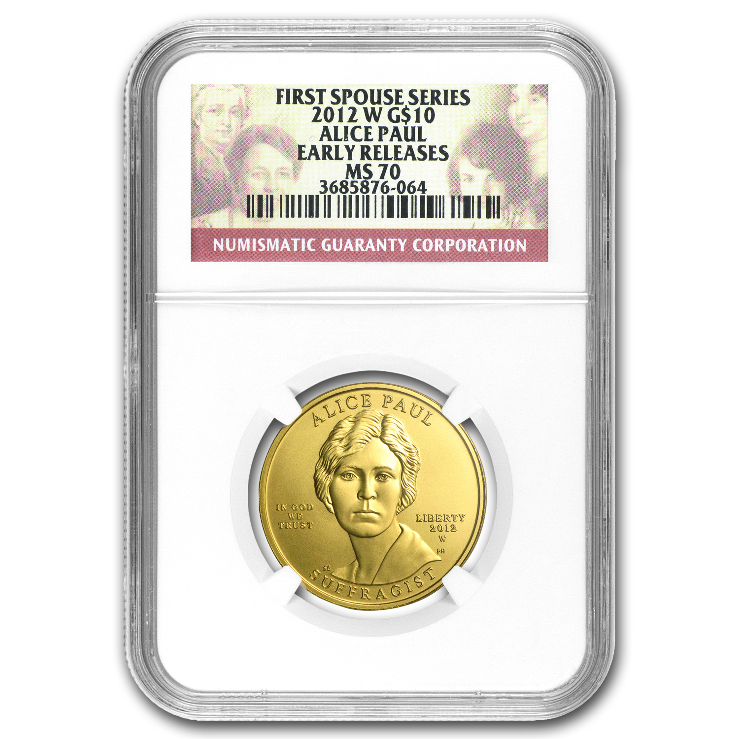 2012-W 1/2 oz Gold Alice Paul MS-70 NGC
