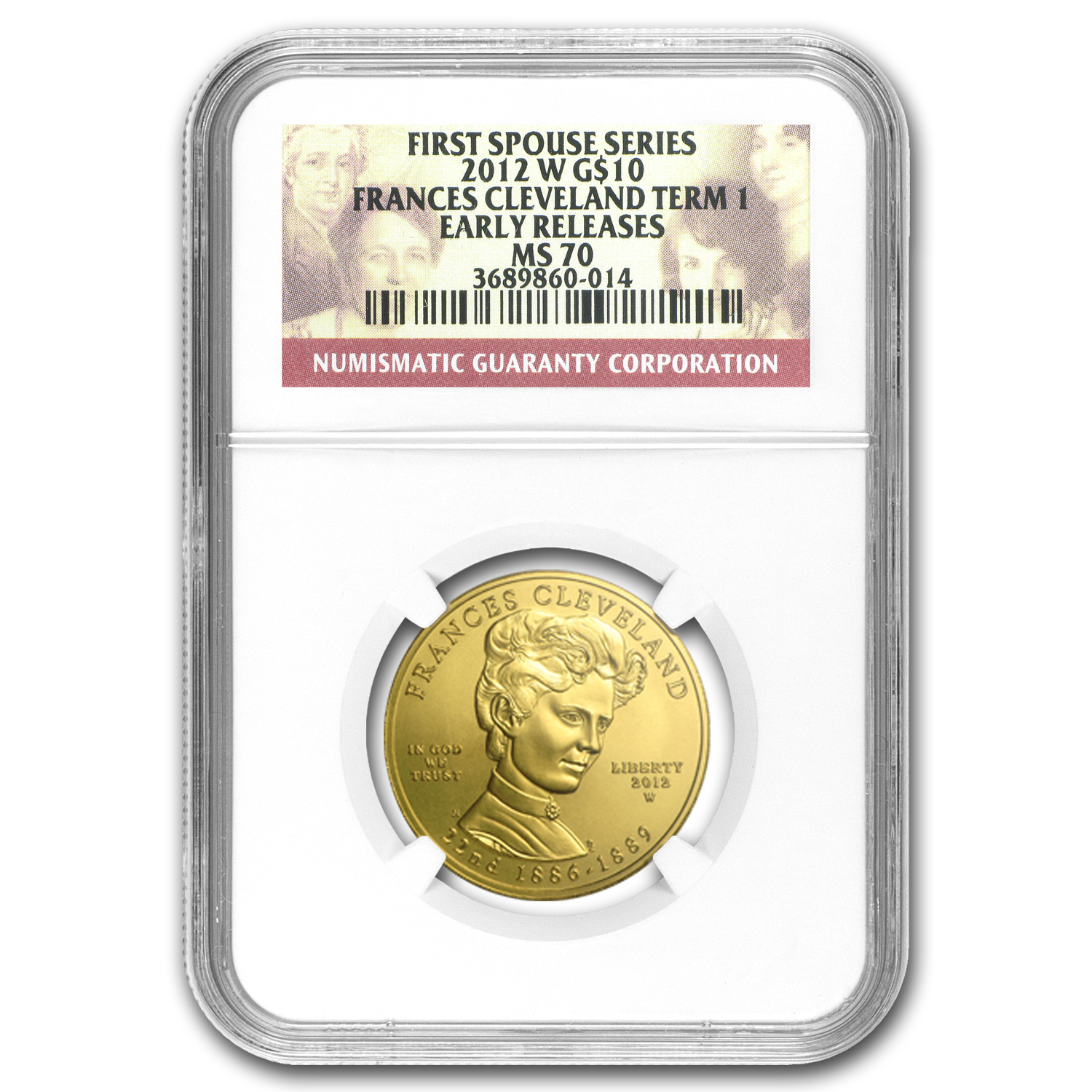 2012-W 1/2 oz Gold Frances Cleveland 1st Term MS-70 NGC