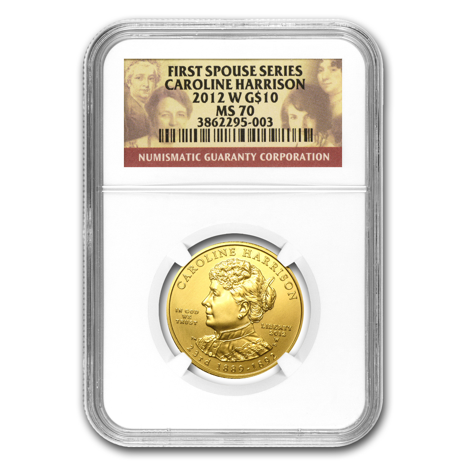 2012-W 1/2 oz Gold Caroline Harrison MS-70 NGC