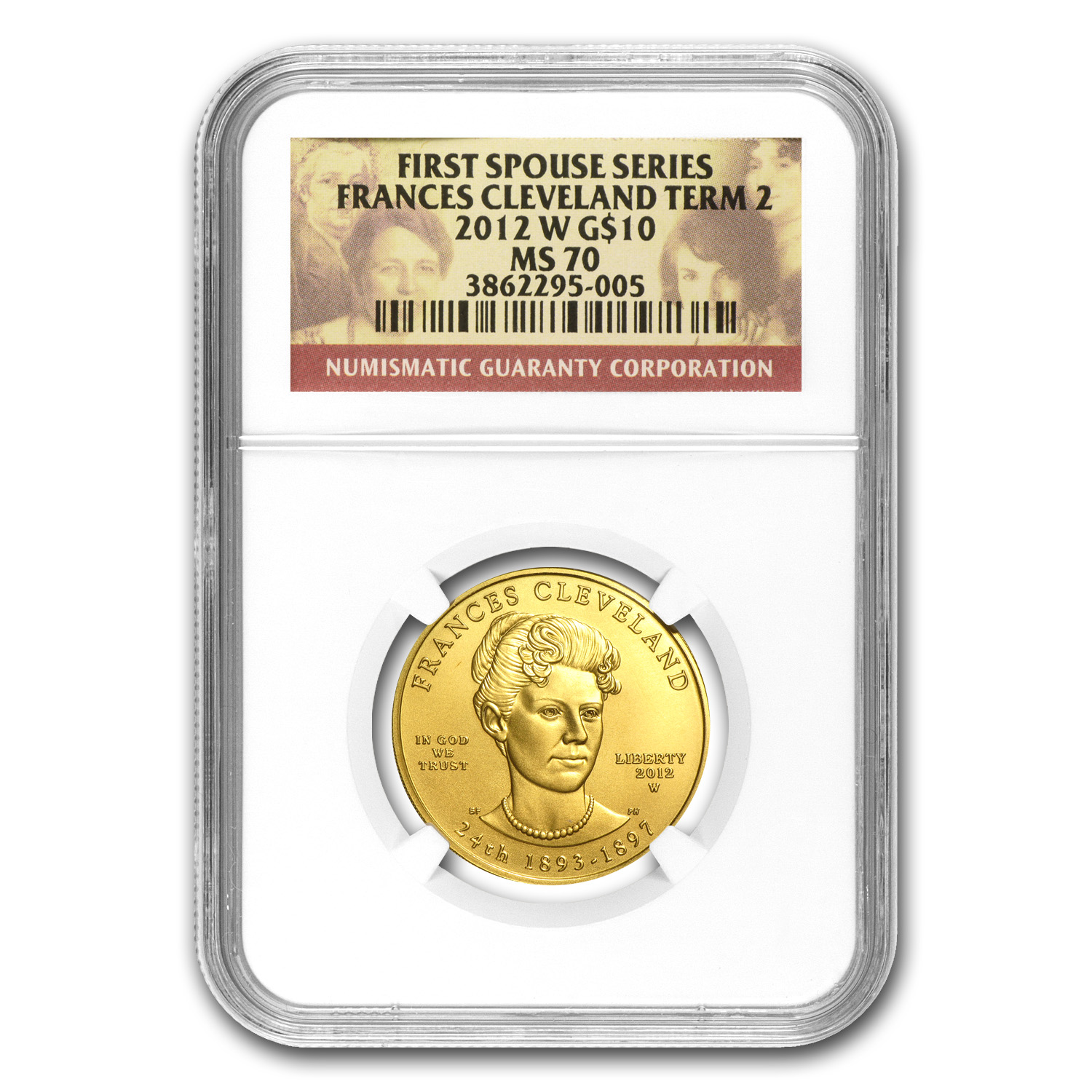 2012-W 1/2 oz Gold Frances Cleveland 2nd Term MS-70 NGC
