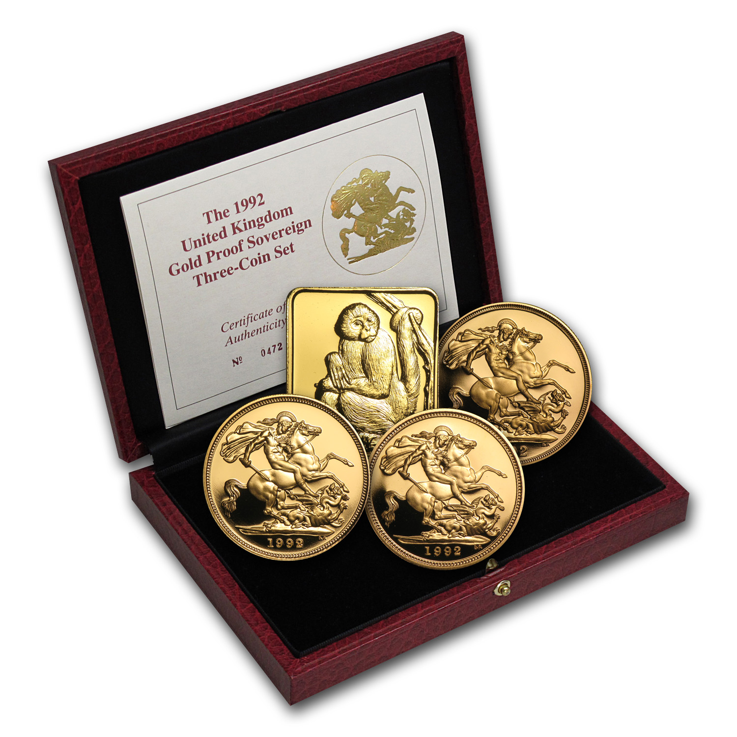 1992 Great Britain 3-Coin Gold Sovereign Proof Set
