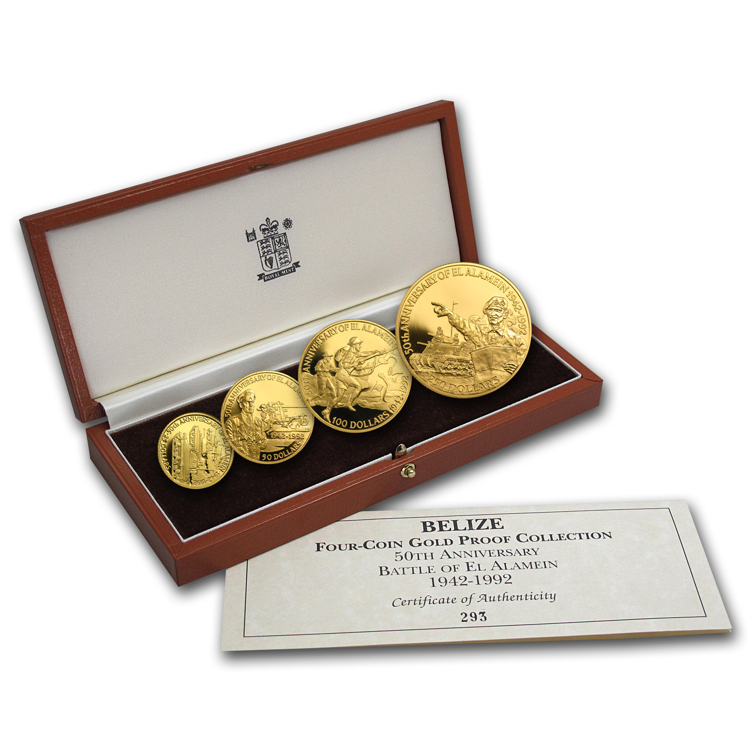 Belize 1992 Four Coin Gold Proof Set Battle of El Alamein
