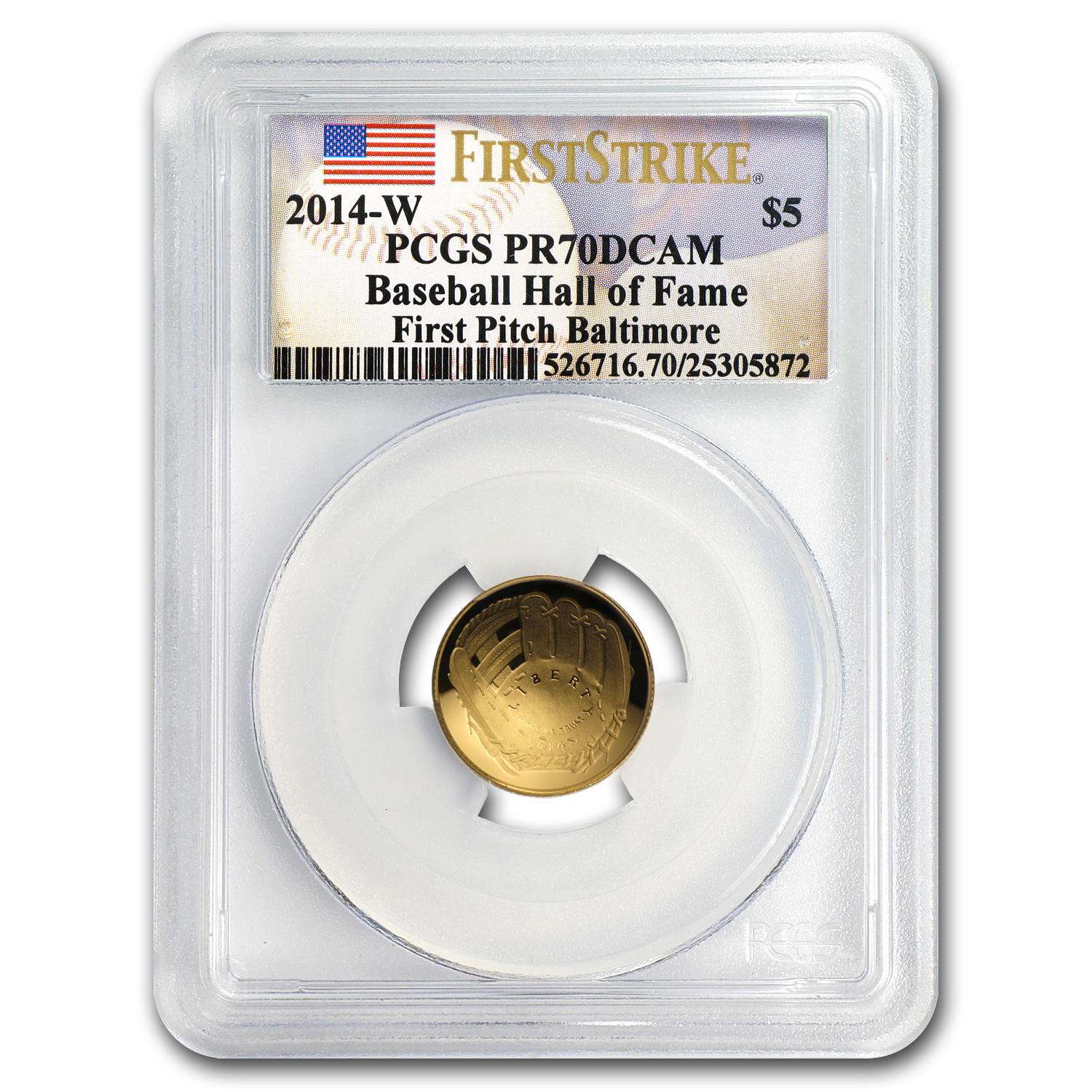 2014-W Gold $5 Commem Baseball HOF PR-70 PCGS (FS, First Pitch)
