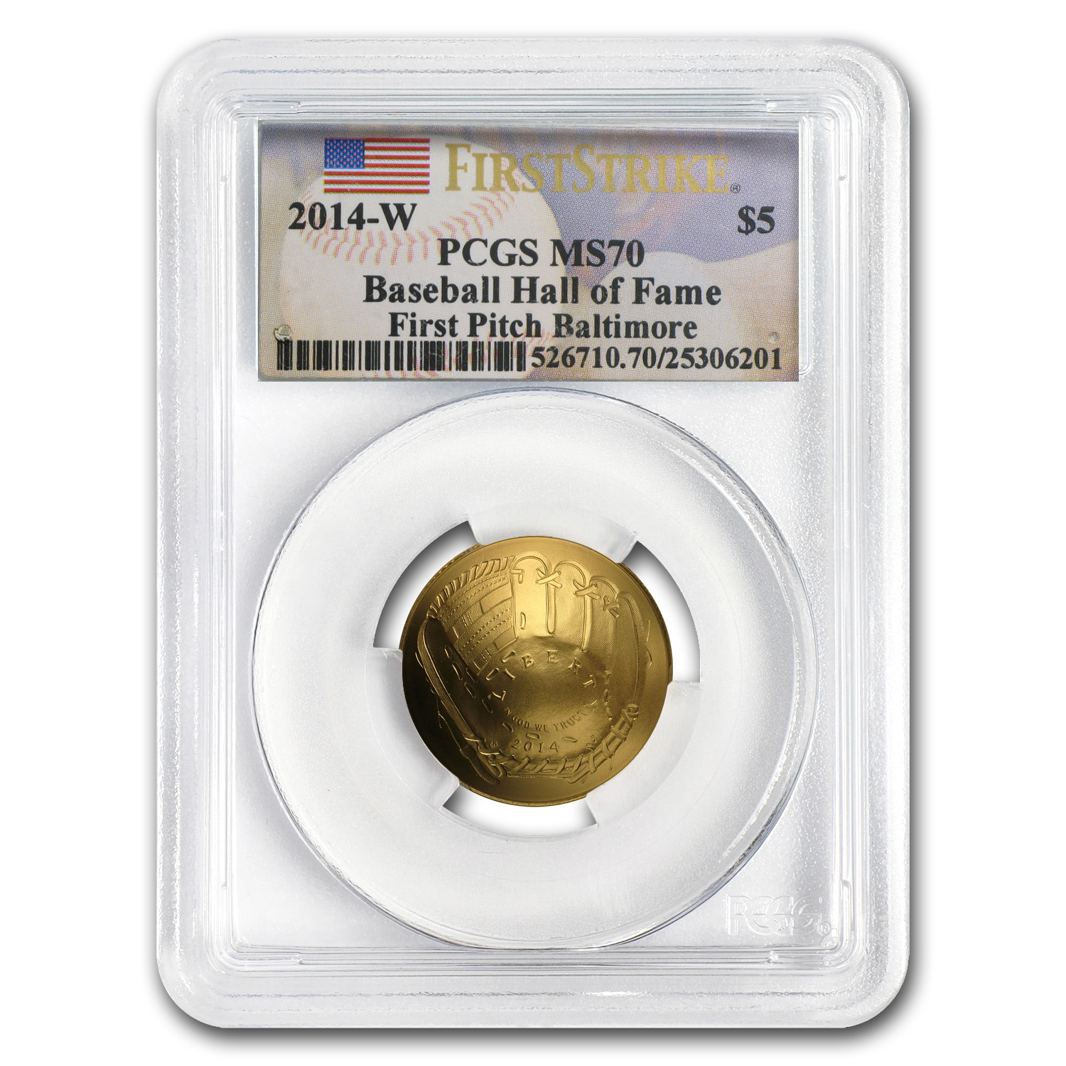 2014-W $5 Gold Commem Baseball HOF MS-70 PCGS (FS, First Pitch)