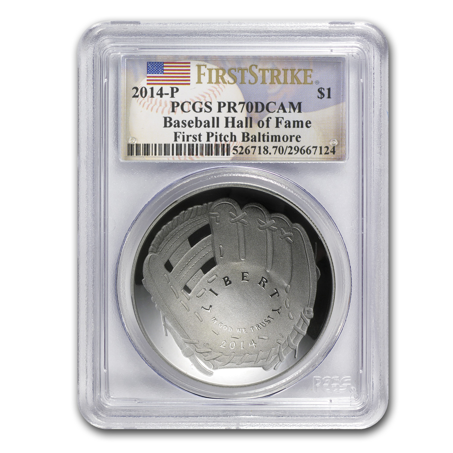 2014-P Baseball HOF $1 Silver PR-70 PCGS (FS, First Pitch)