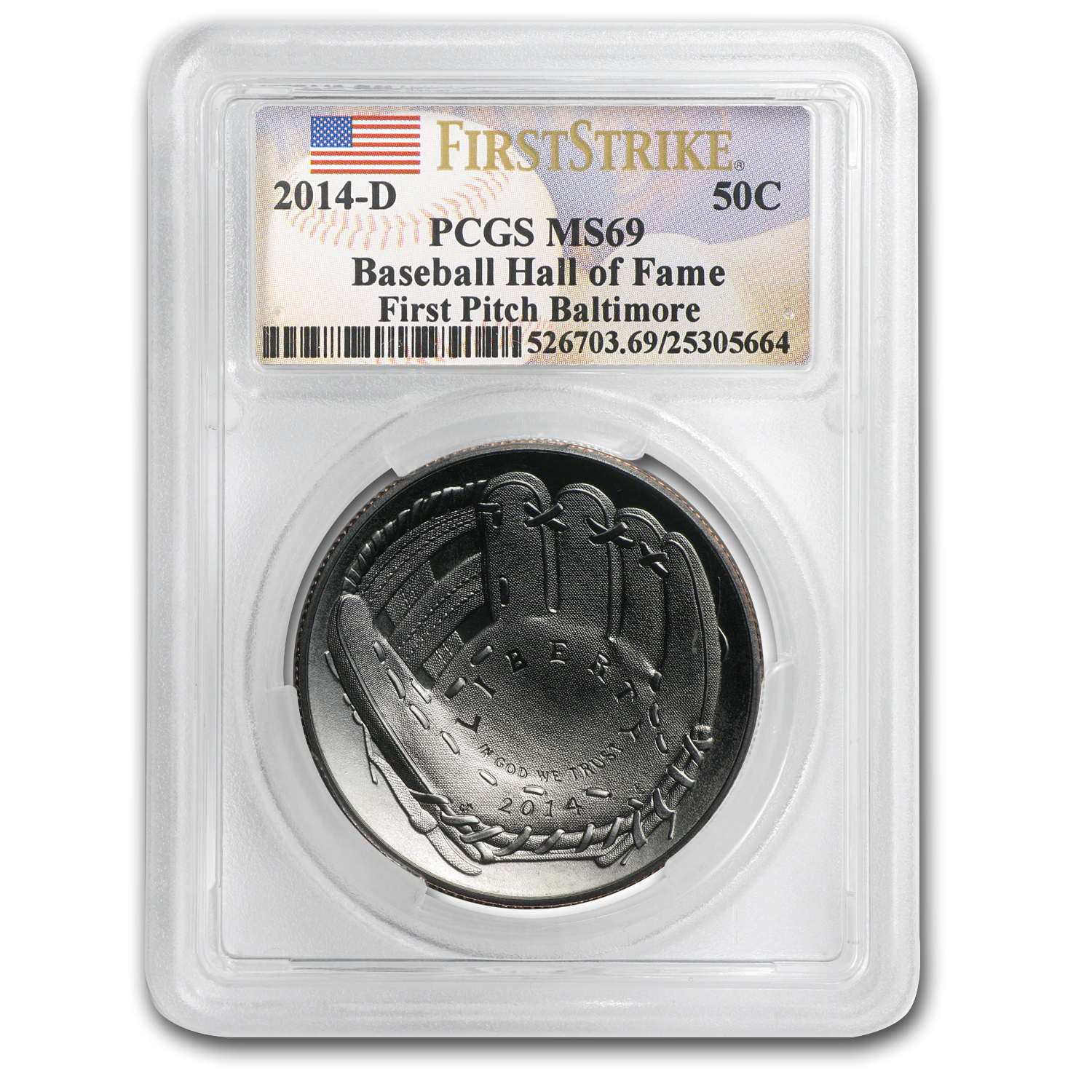 2014-D Baseball HOF 1/2 Dollar Clad Commem MS-69 PCGS (FS, FP)