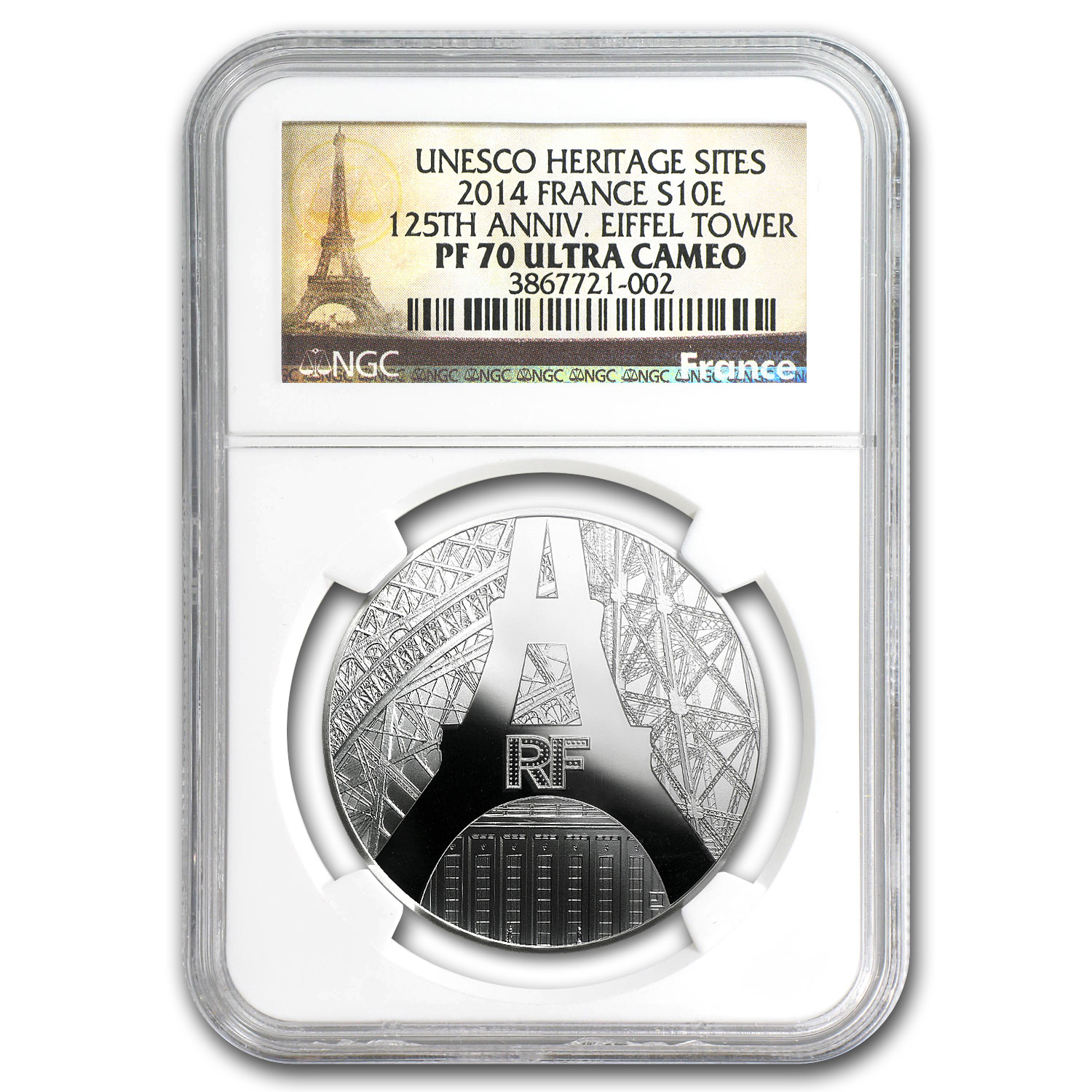 2014 France Silver €10 Eiffel Tower/Palais de Chaillot PF-70 NGC