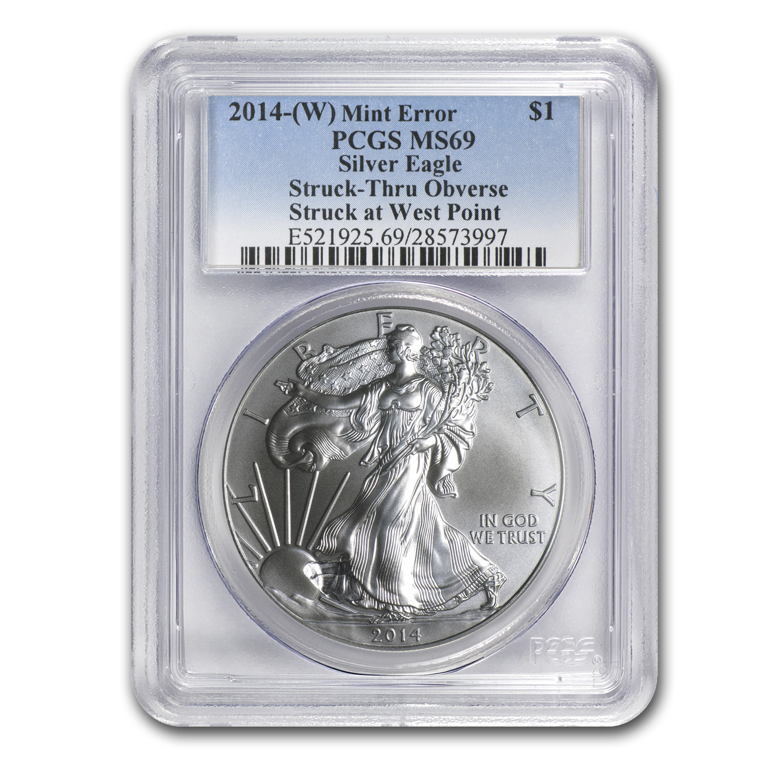 2014 (W) Silver American Eagle MS-69 PCGS (Mint Error)