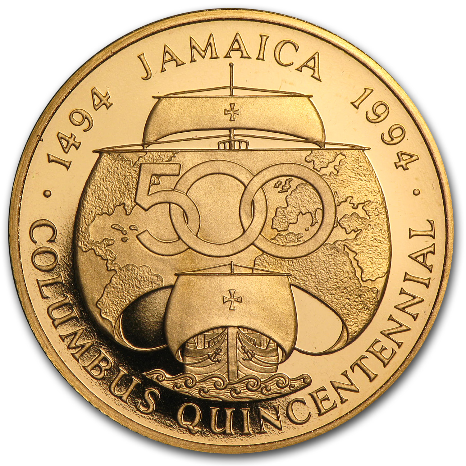Jamaica 1992 Gold 500 Dollar Proof Columbus