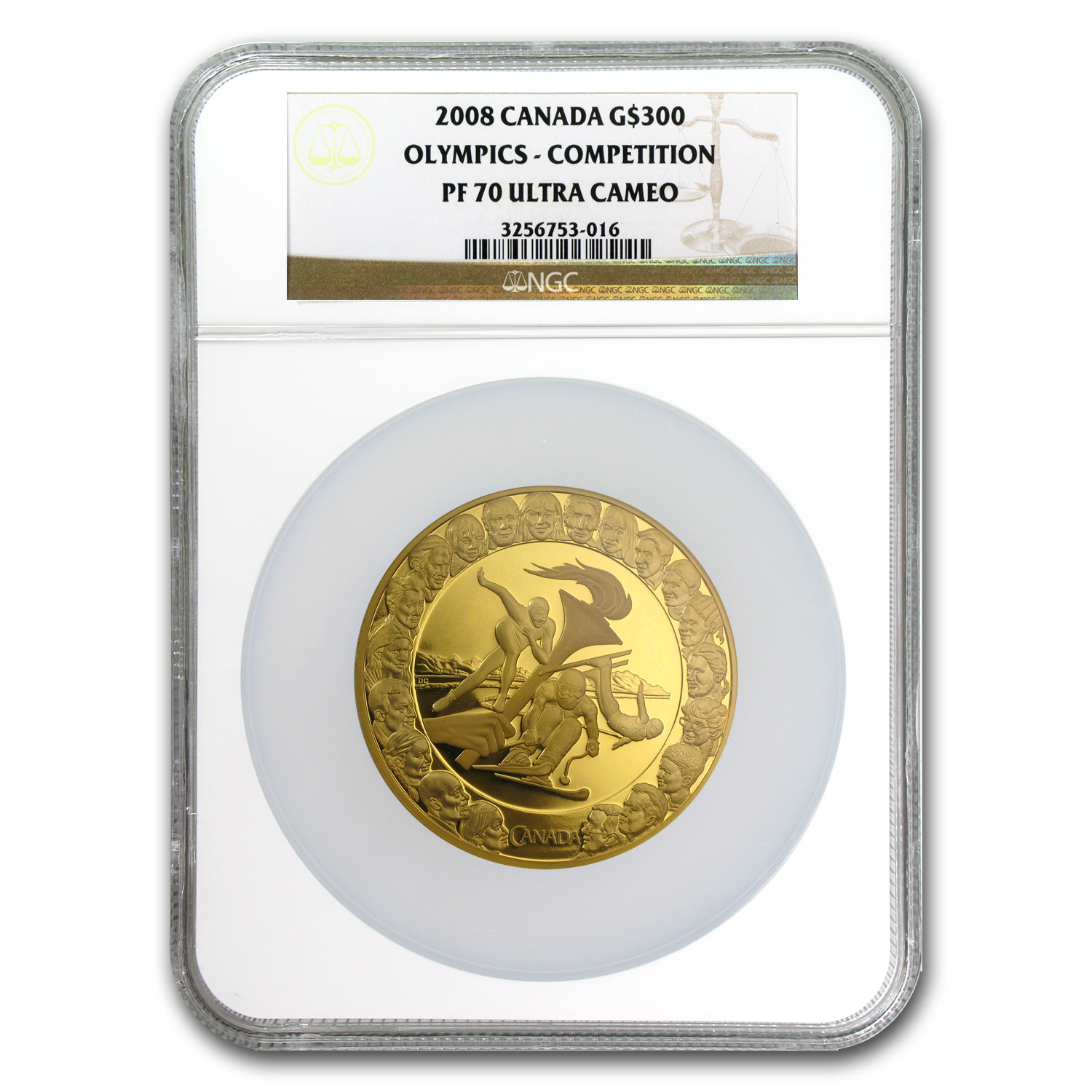 2008 1.125 oz Gold Canadian $300 Olympics Competition PF-70 NGC