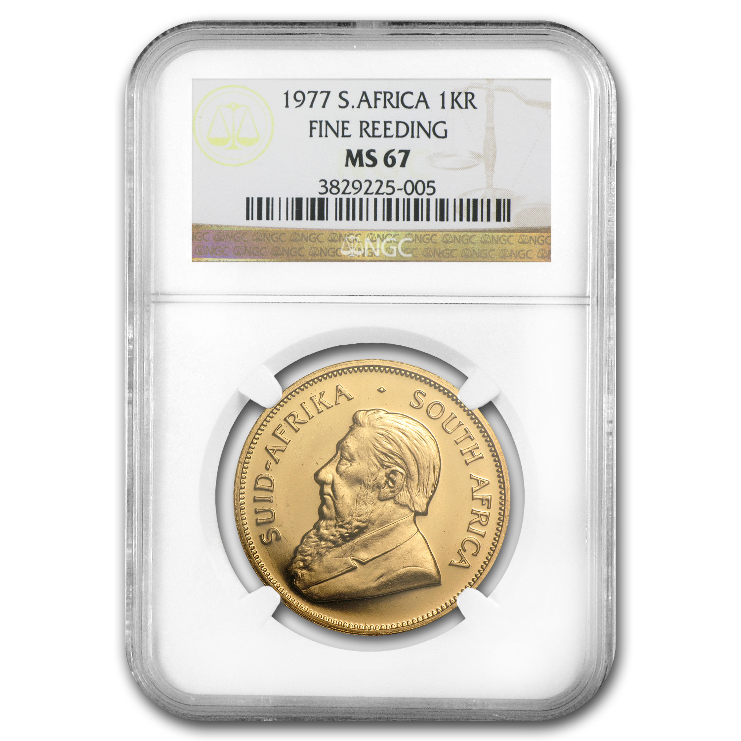 1977 South Africa 1 oz Gold Krugerrand MS-67 NGC (Fine Reeding)