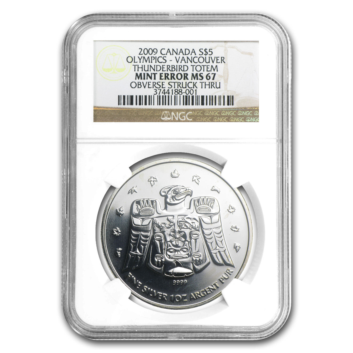 2009 1 oz Silver Can. Maple Thunderbird MS-67 NGC (Mint Error)