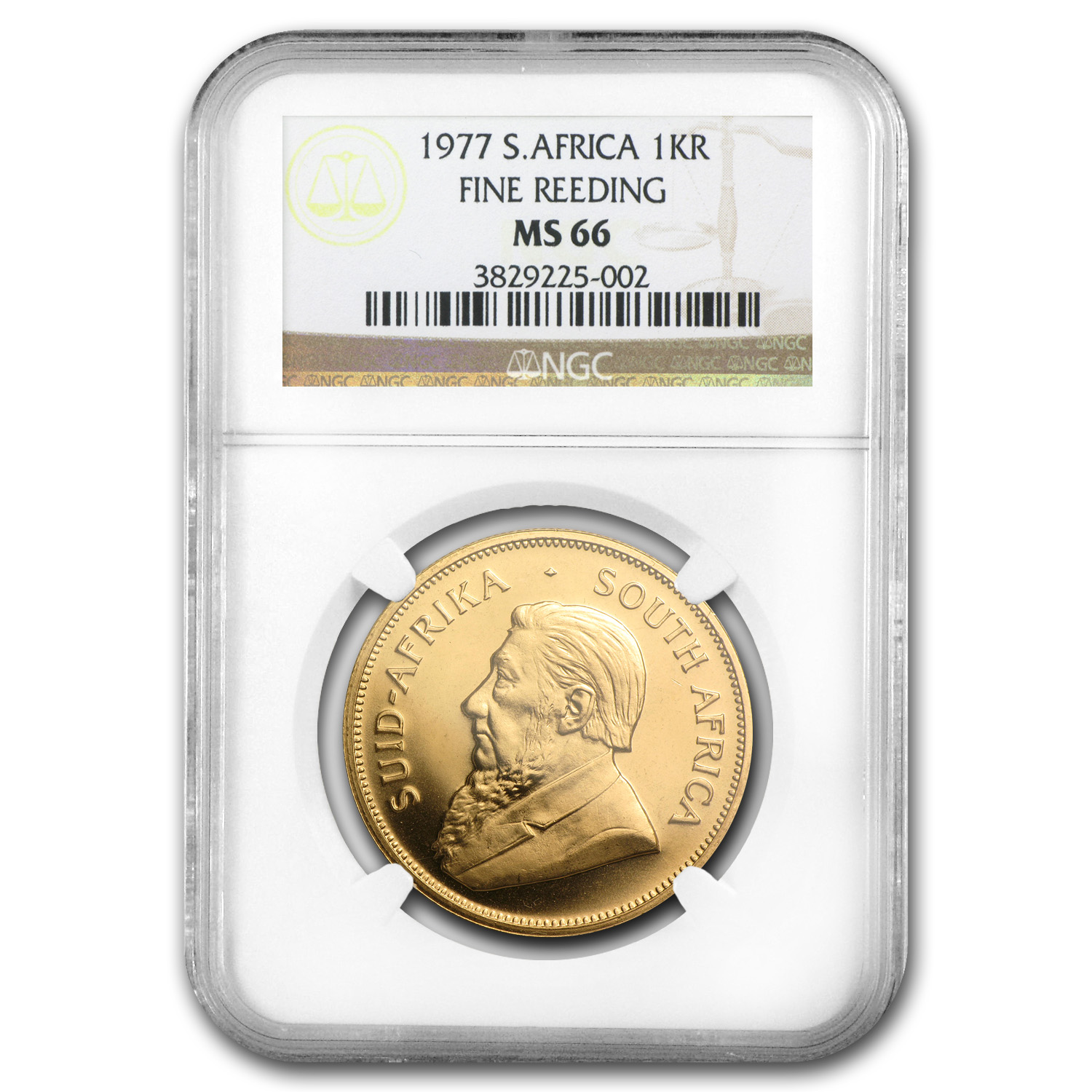 1977 South Africa 1 oz Gold Krugerrand MS-66 NGC (Fine Reeding)