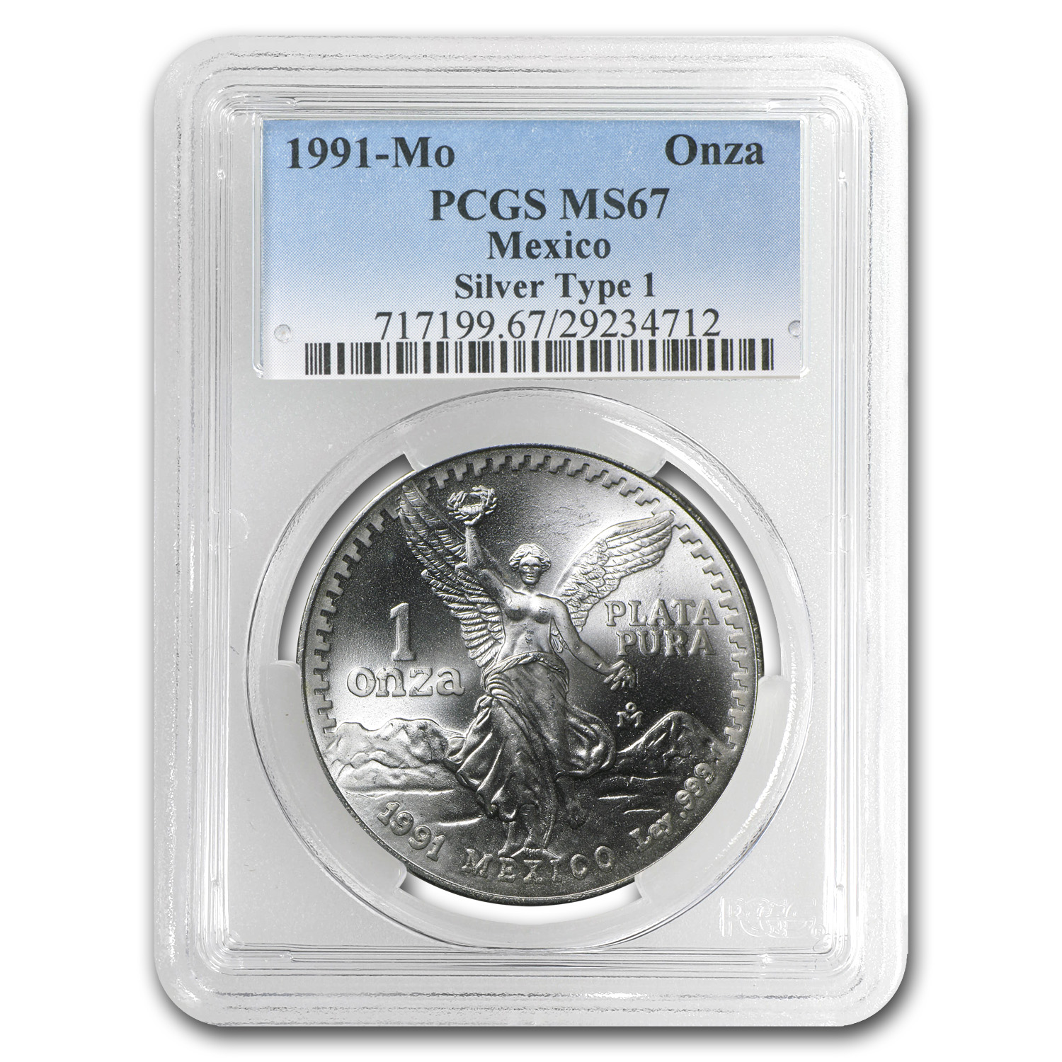 1991 Mexico 1 oz Silver Libertad Type 1 MS-67 PCGS