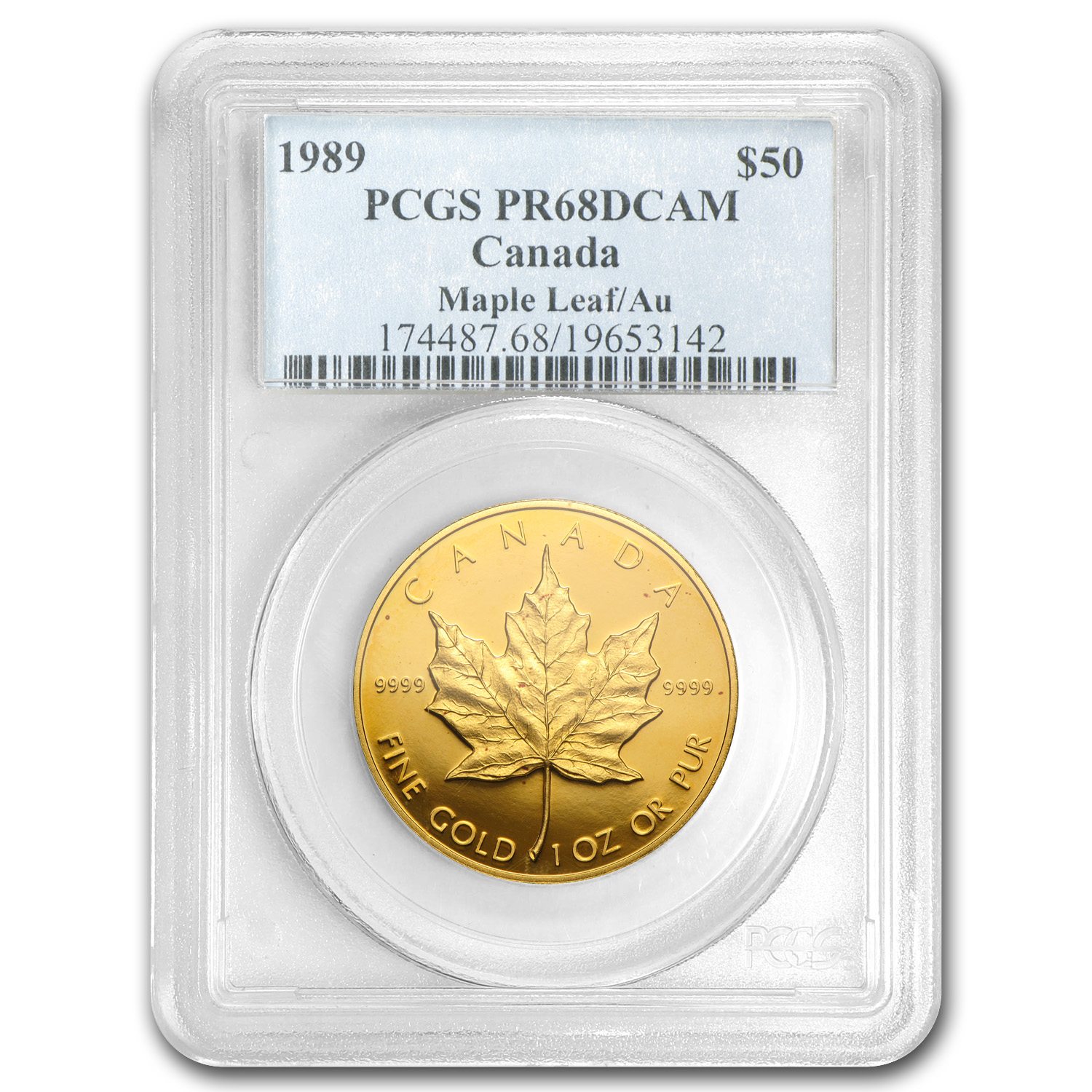 1989 Canada 1 oz Proof Gold Maple Leaf PR-68 PCGS