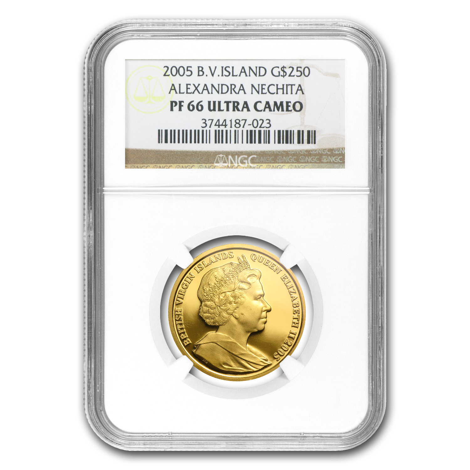 British Virgin Islands 2005 Gold $250 Peace PF-66 UCAM NGC