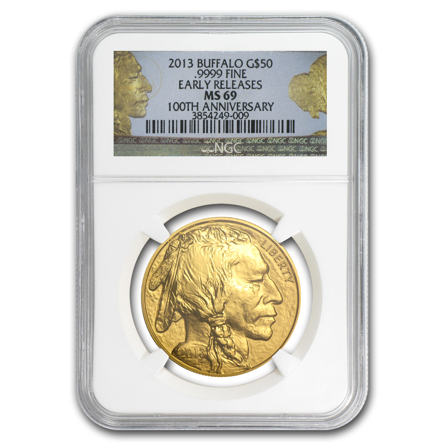 2013 1 oz Gold Buffalo MS-69 NGC (ER, 100th Anniv Label)